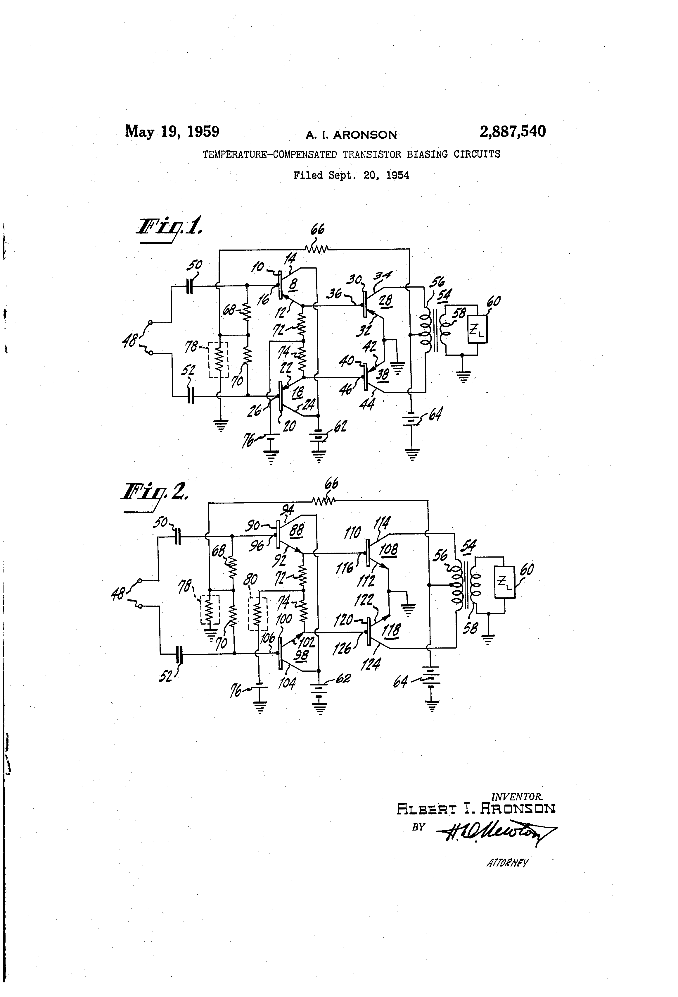 Patente Us2887540 Temperature Compensated Transistor Biasing Amplifier Example Patent Drawing