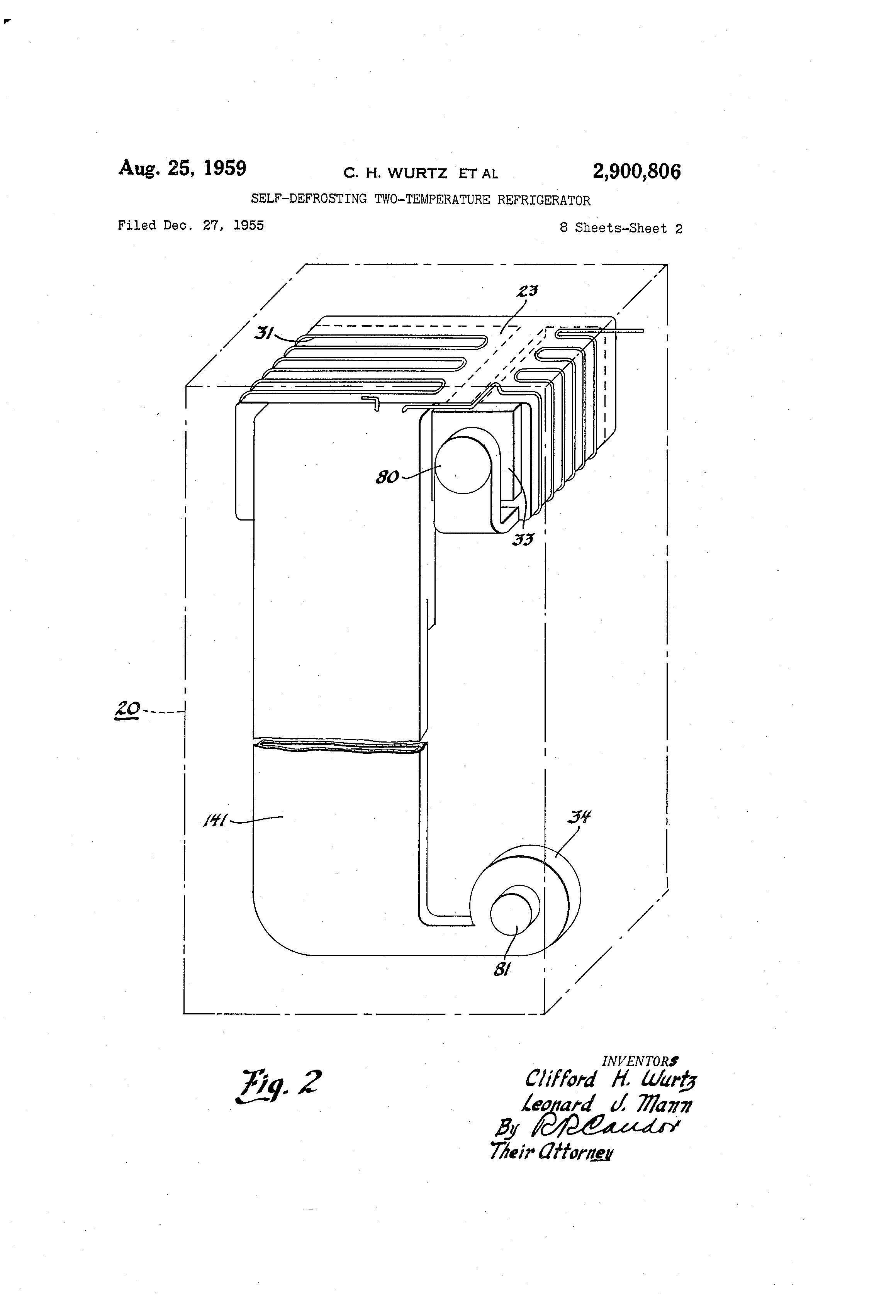 Clifford 5 806x Wiring Diagram Schema Diagrams Matrix 1 Patent Us2900806 Self Defrosting Two Temperature Refrigerator