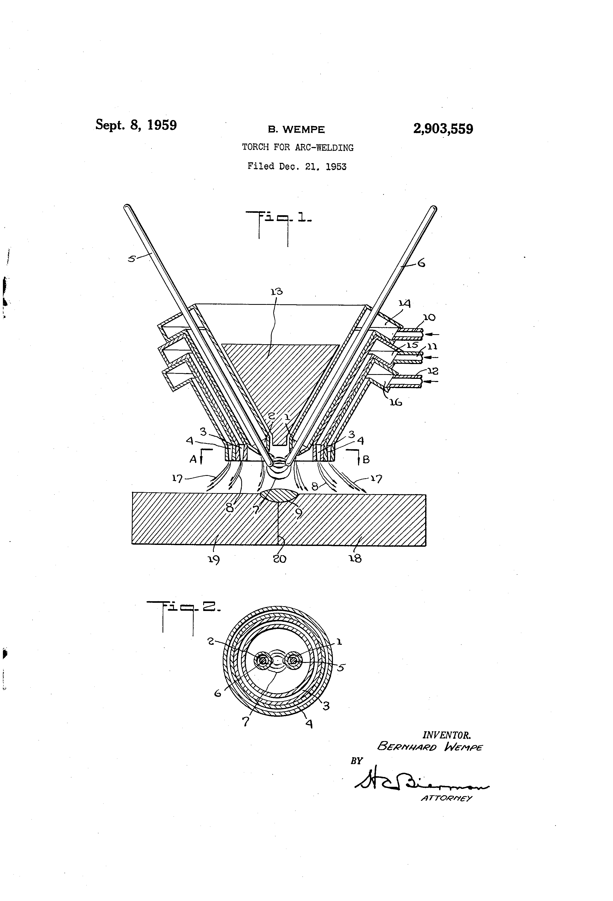 Patent Us2903559 Torch For Arc Welding Google Patents Underwater Diagram Drawing
