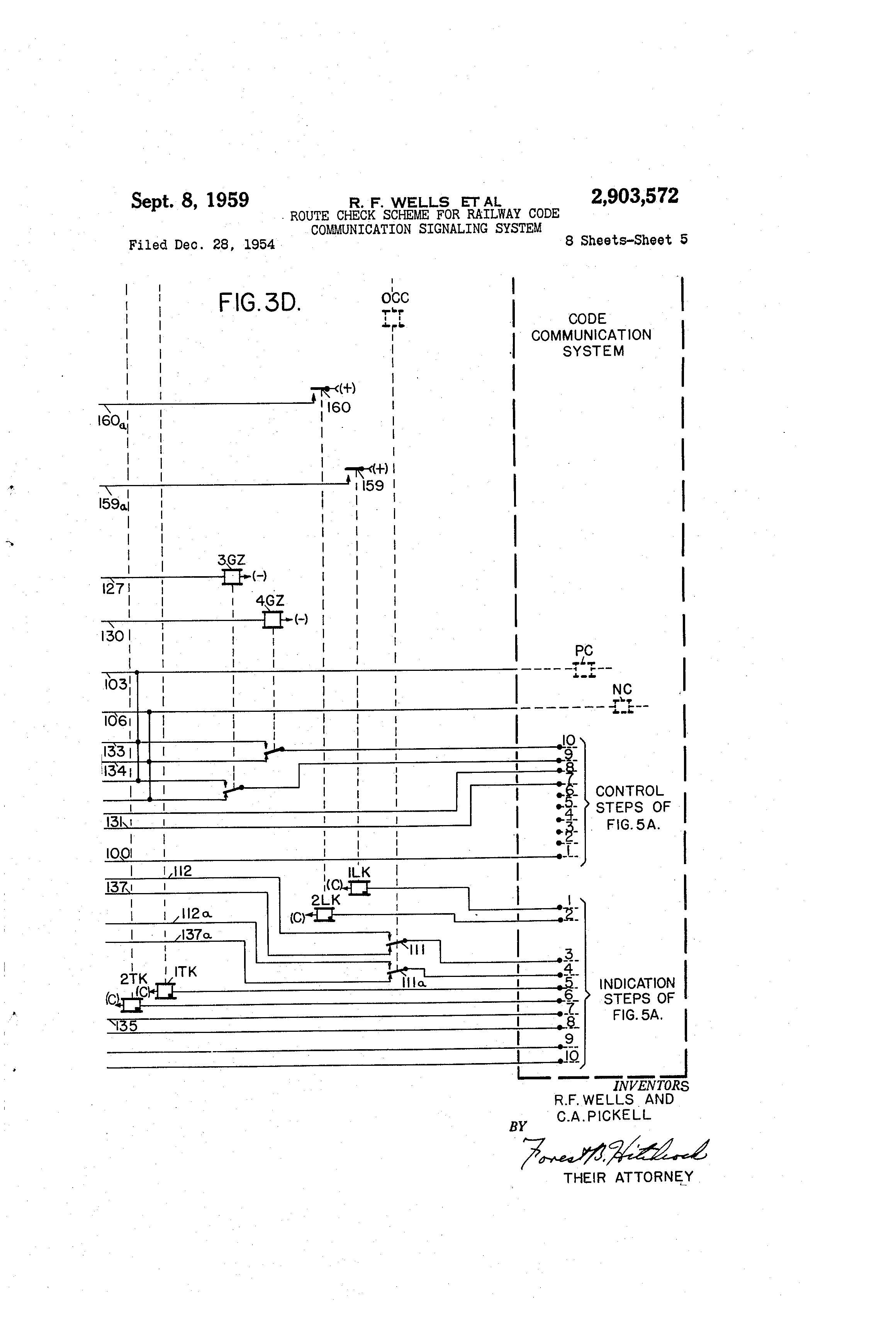 Patent Us2903572 Route Check Scheme For Railway Code Communication Relay Schematic Symbol Pcrelay The Drawing