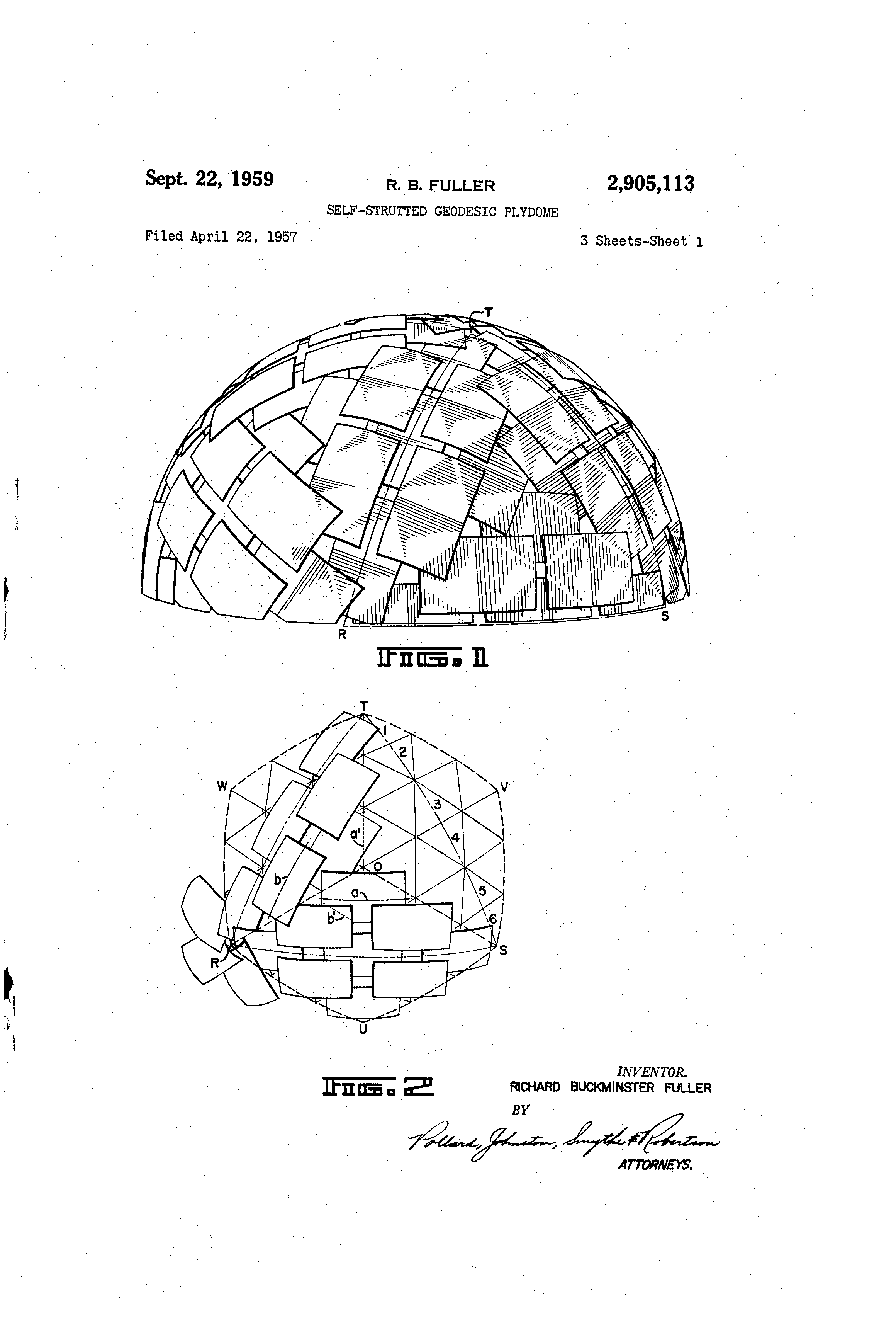 Patent Us2905113 Self Strutted Geodesic Plydome Google