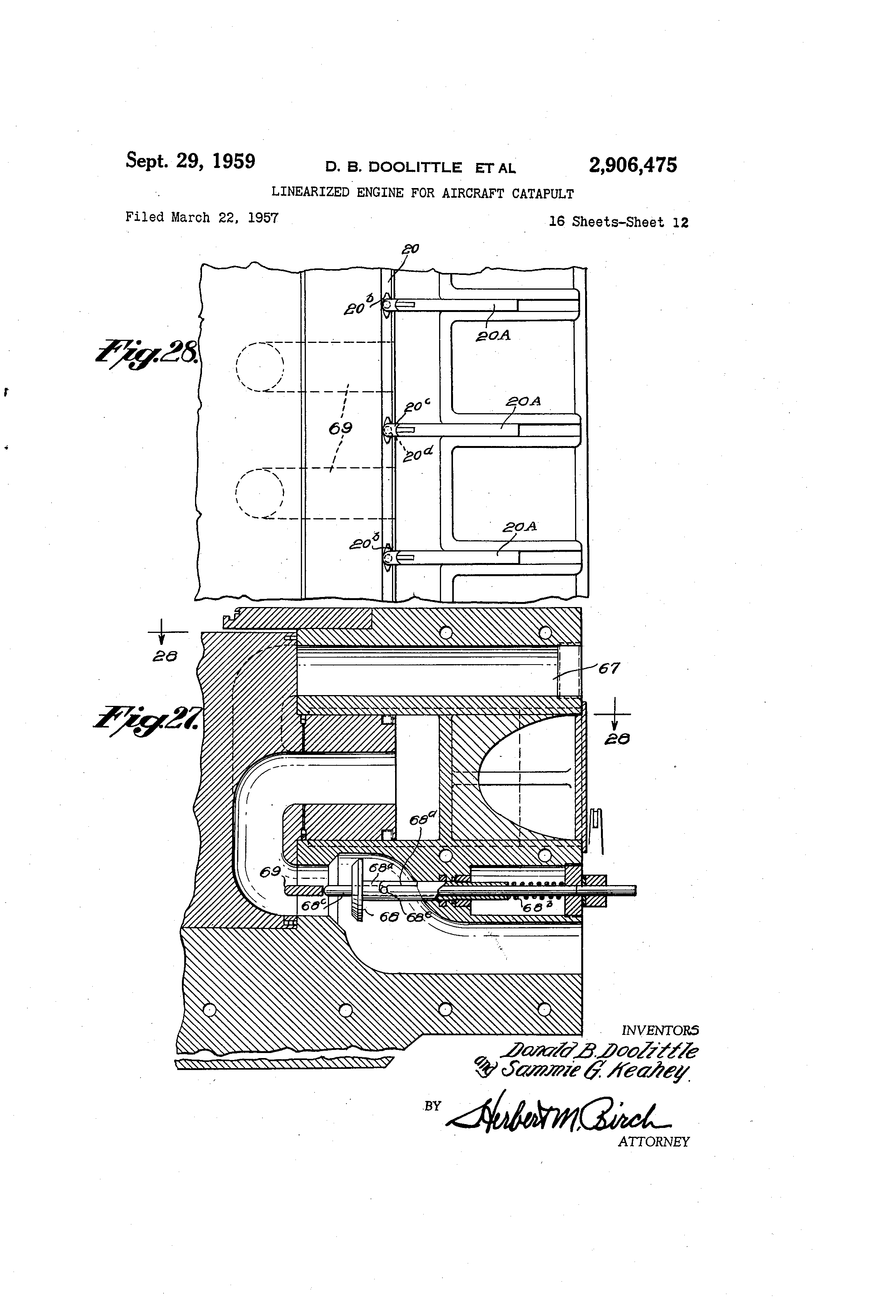 Patent Us2906475 Linearized Engine For Aircraft Catapult Google Piston Diagram Drawing