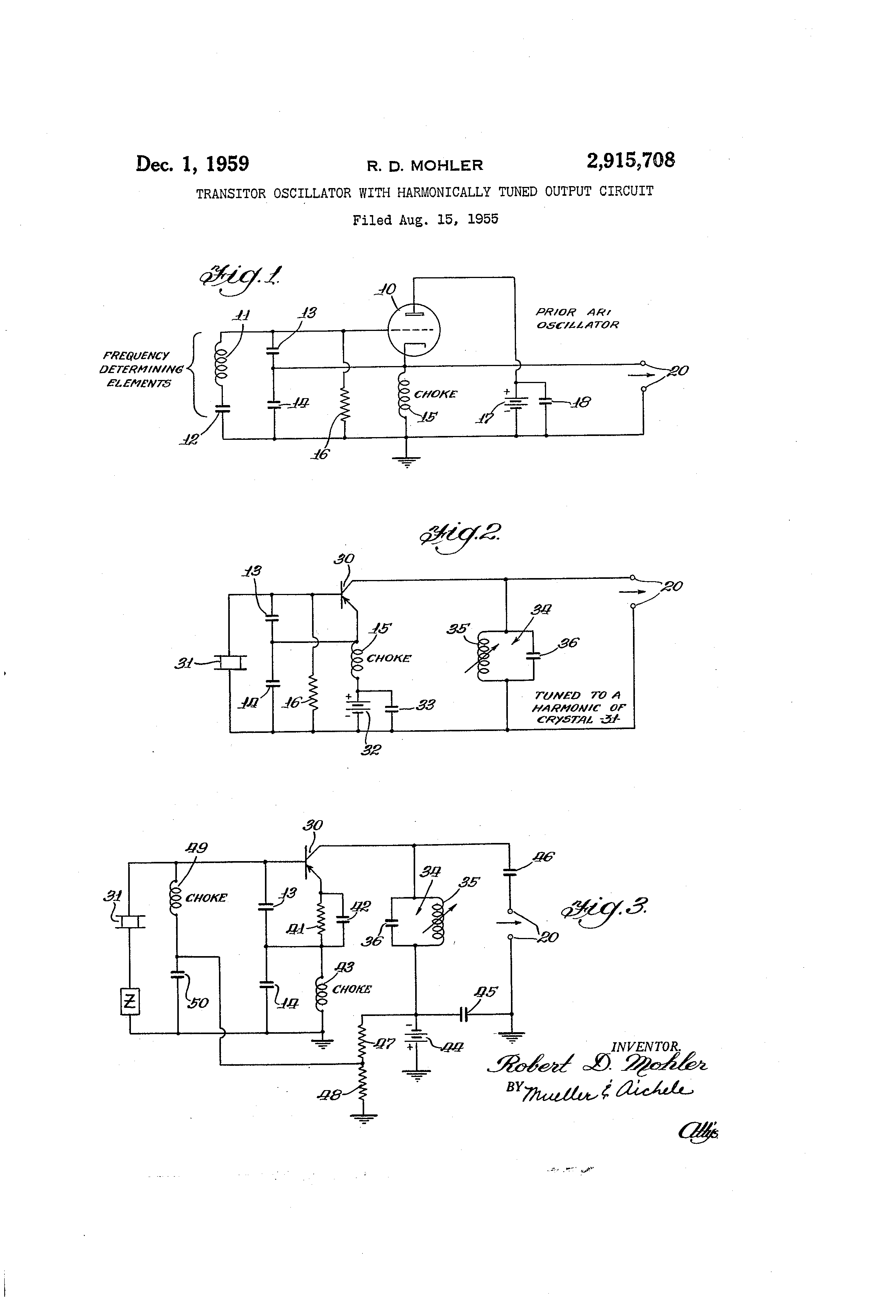 Patent Us2915708 Transistor Oscillator With Harmonically Tuned Circuit Is Similar To The Version Of Hartley Drawing