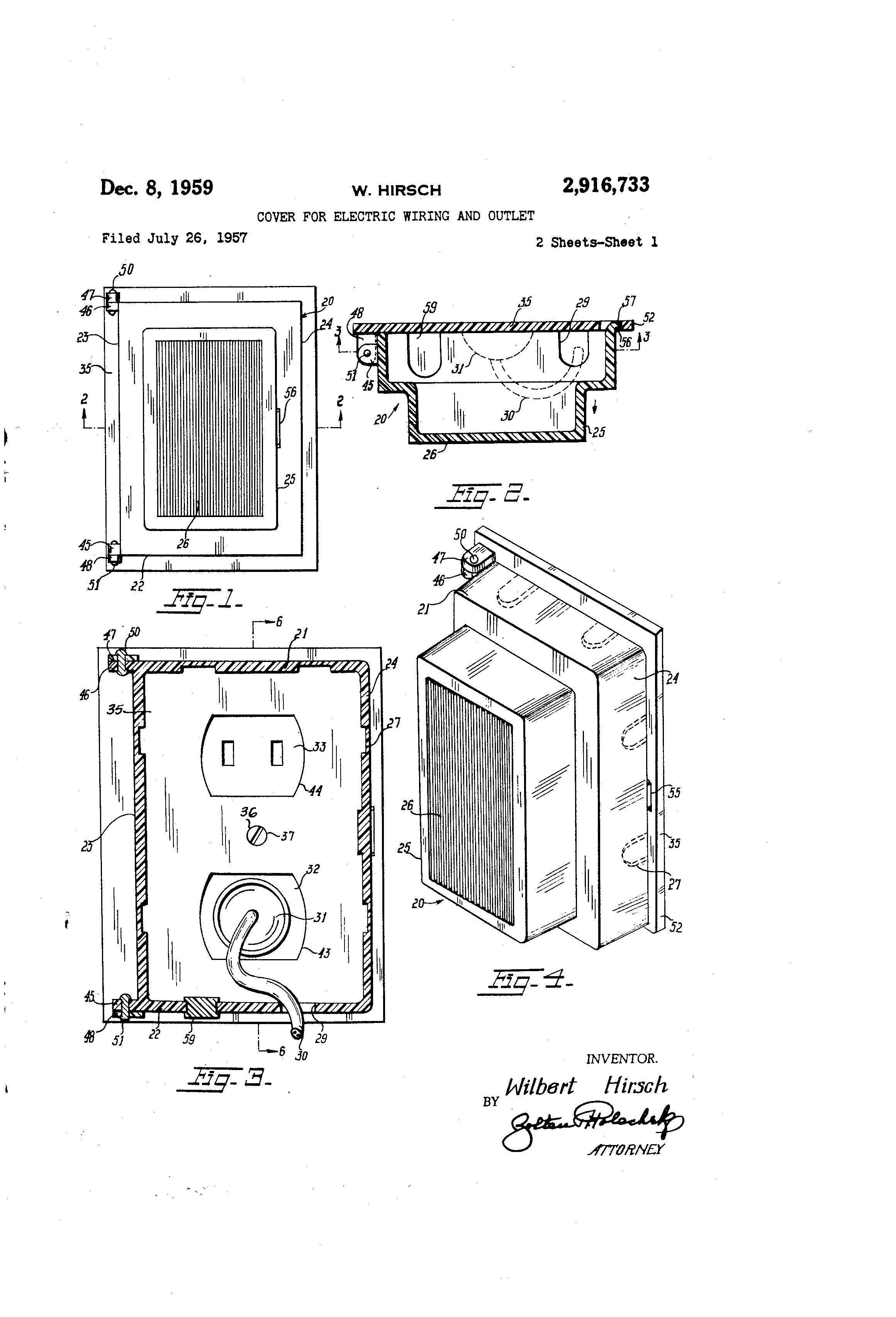 patent us2916733 - cover for electric wiring and outlet