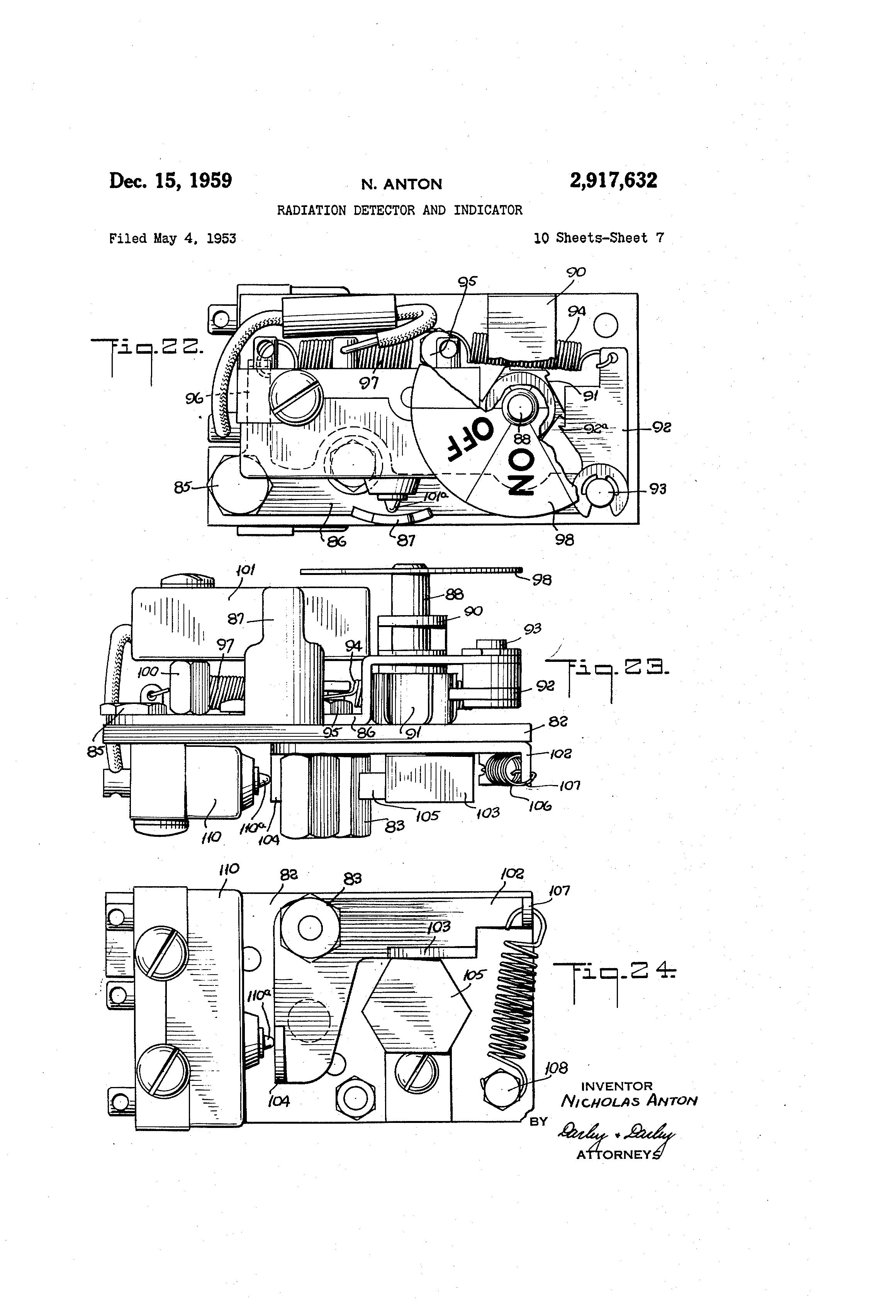 Us2917632 Radiation Detector And Indicator Mimi 24 Pin Wiring Diagram Patent Drawing