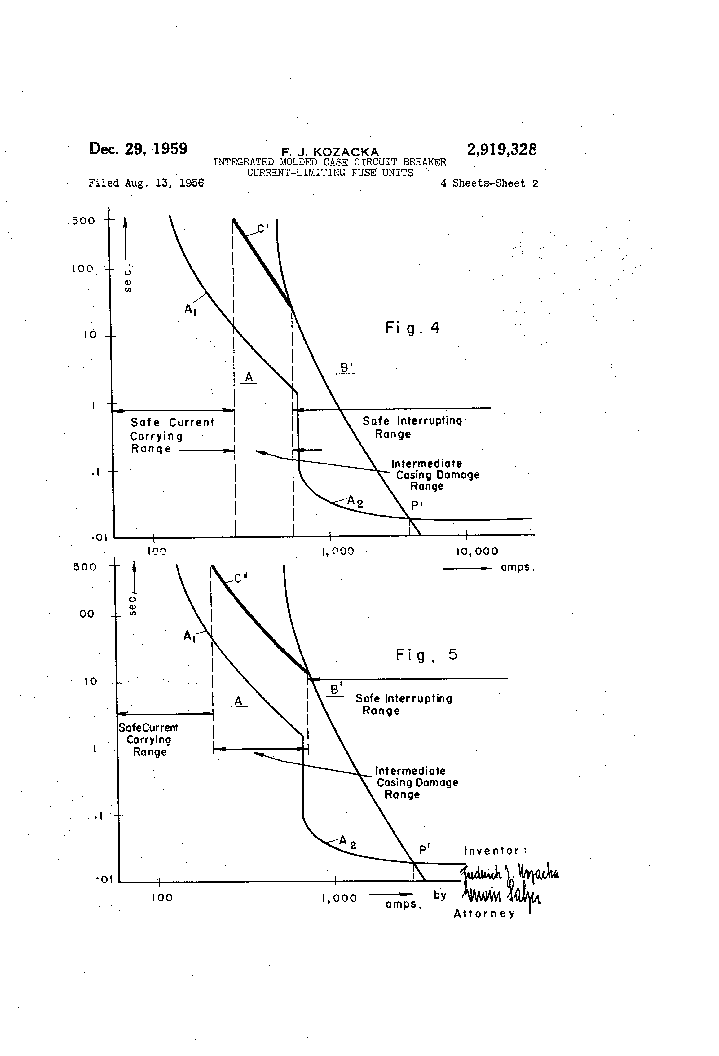 Patent Us2919328 Integrated Molded Case Circuit Breaker Current Figure 1 Variants Of Tripping Curves Drawing