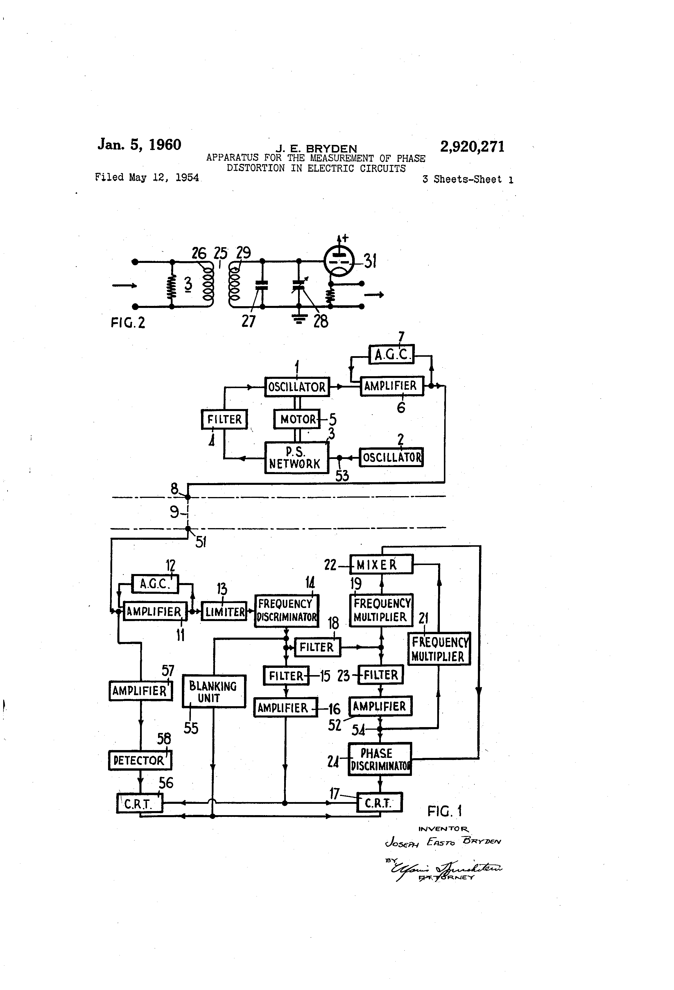 Patent Us2920271 Apparatus For The Measurement Of Phase Distortion Measurements In Electric Circuits Drawing