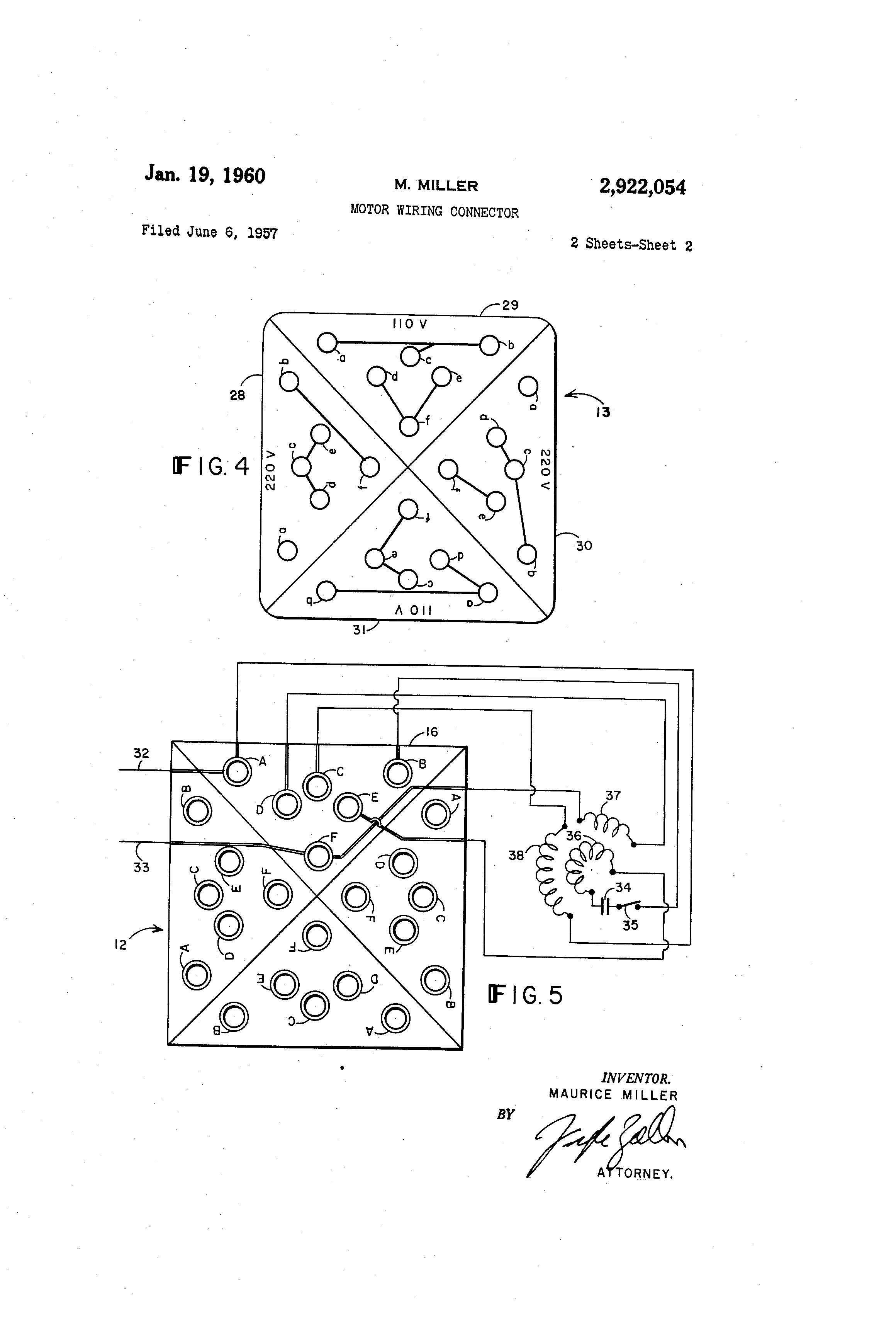 Patent Us2922054 - Motor Wiring Connector