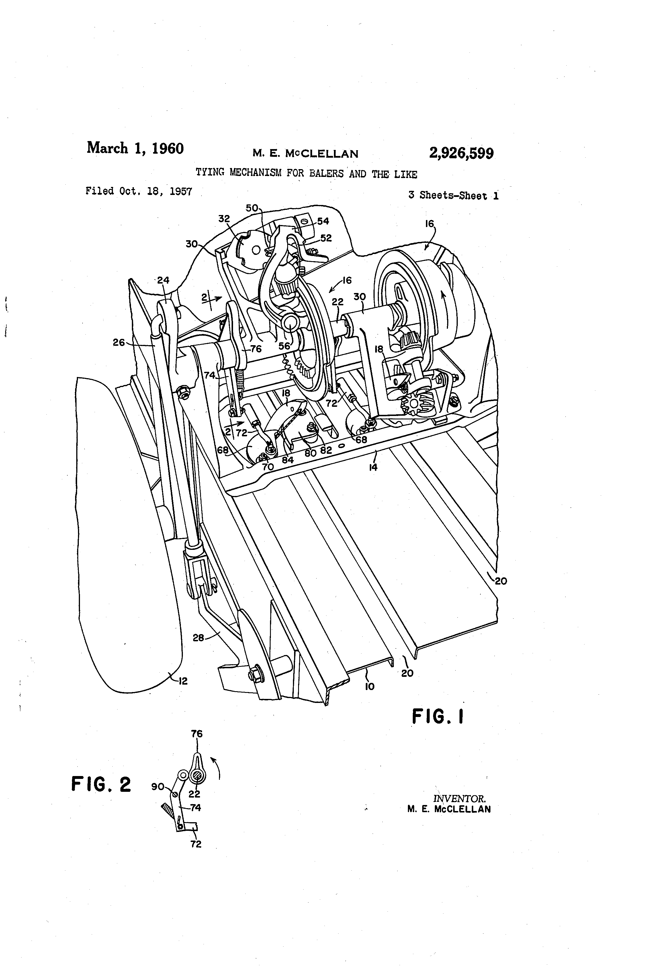 Brevet Us2926599 Tying Mechanism For Balers And The Like Google 1957 Ford Ignition Switch Wiring Patent Drawing