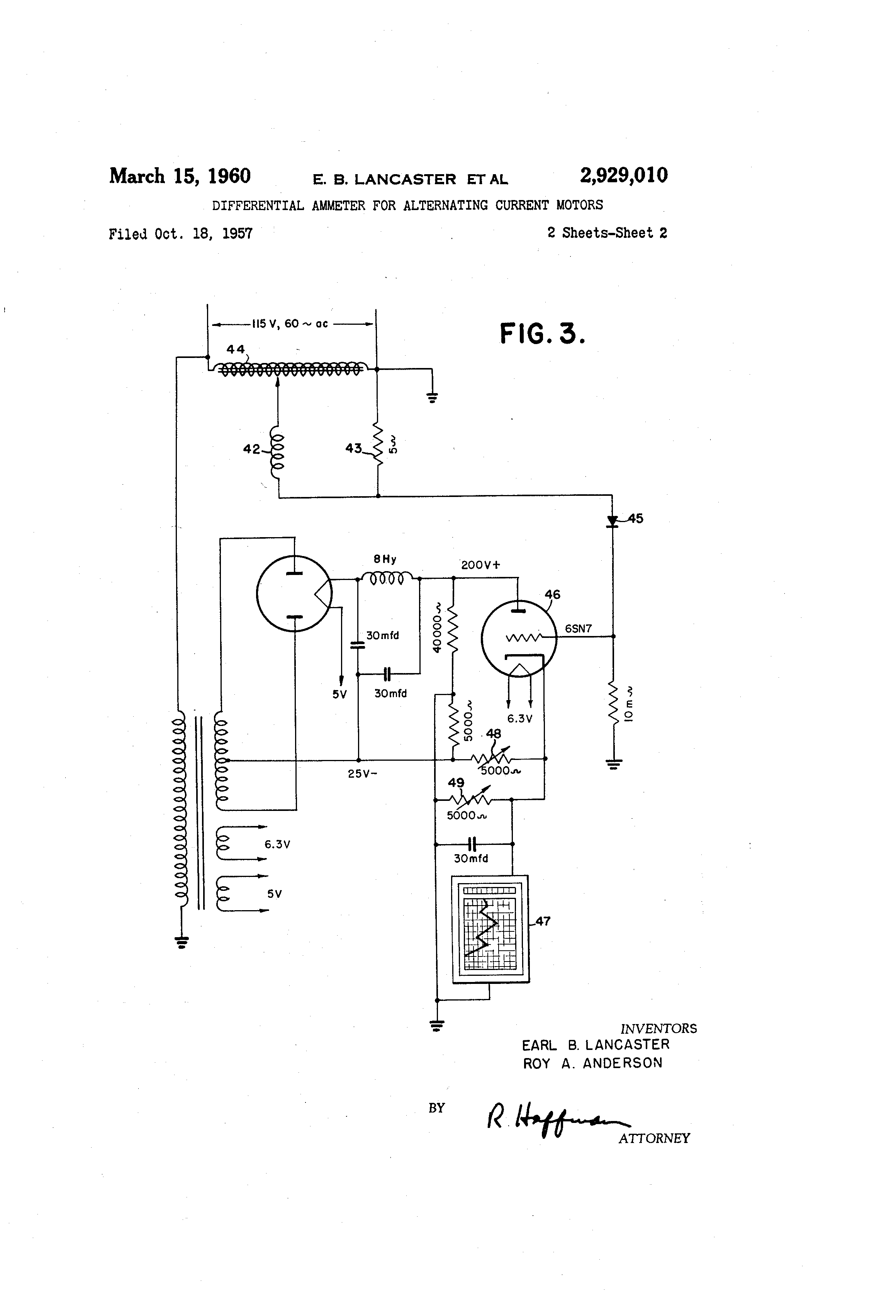 Patente Us2929010 Differential Ammeter For Alternating Current Diagram Patent Drawing