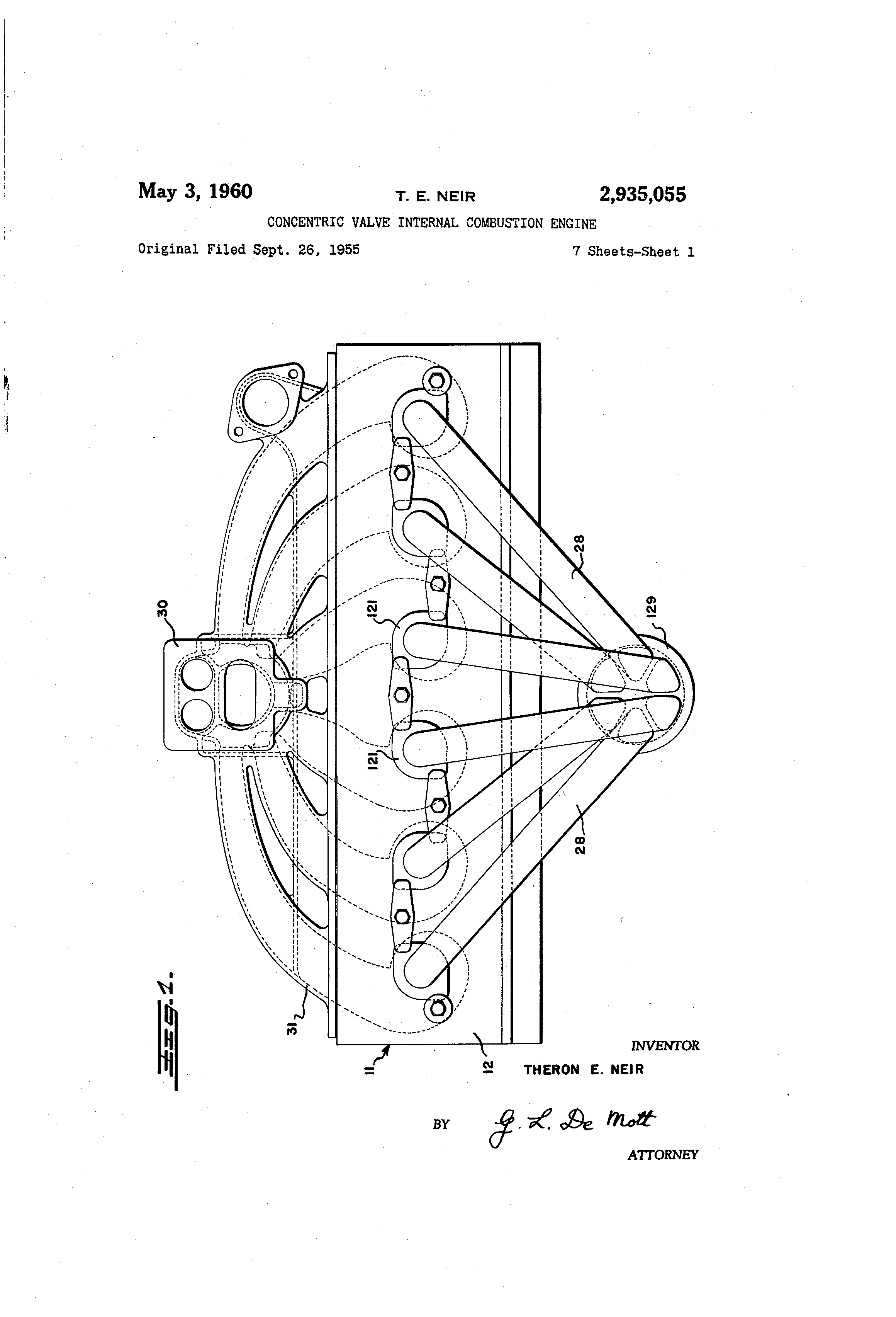 Patent Us2935055 Concentric Valve Internal Combustion Engine External Diagram Drawing