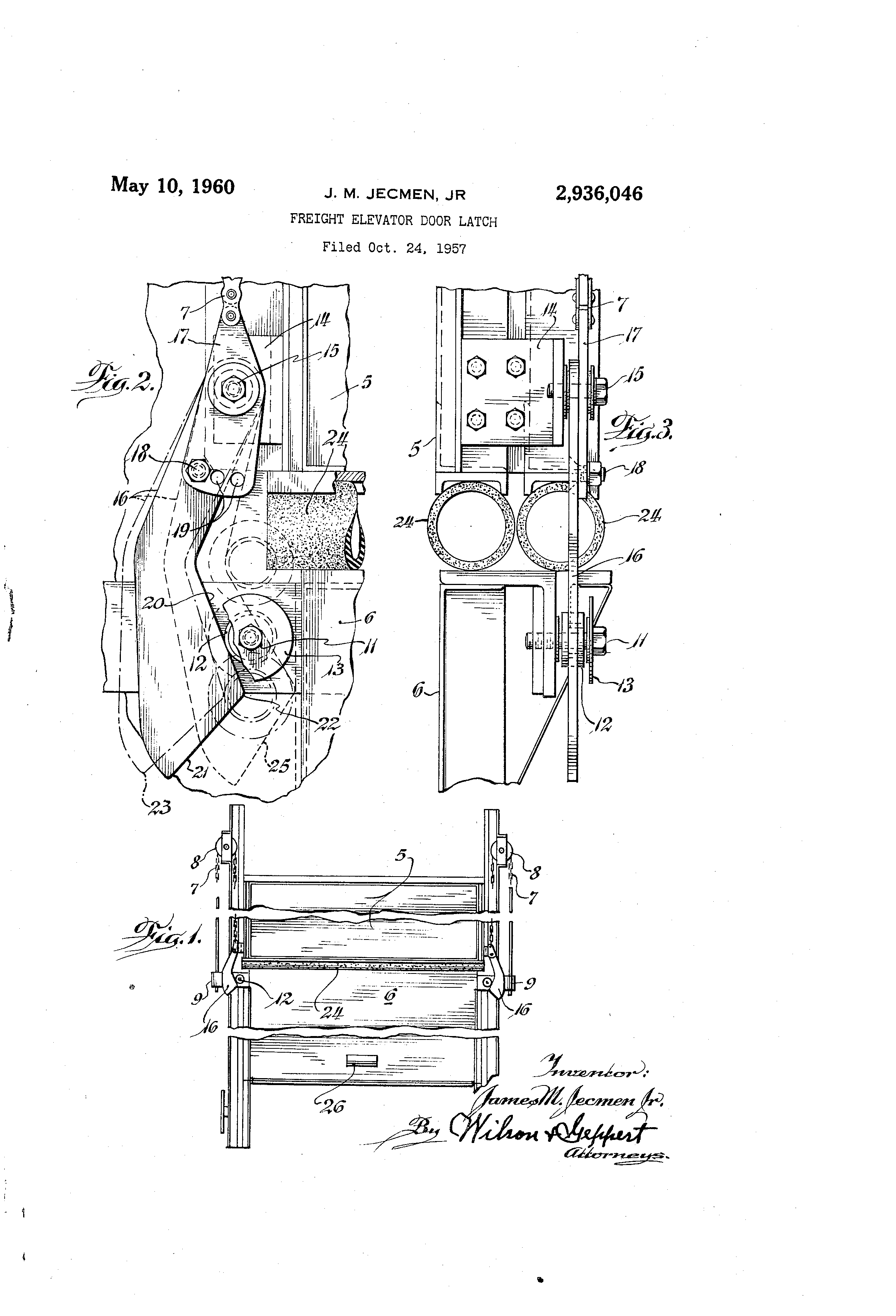 Patent Drawing  sc 1 th 272 & Patent US2936046 - Freight elevator door latch - Google Patents pezcame.com