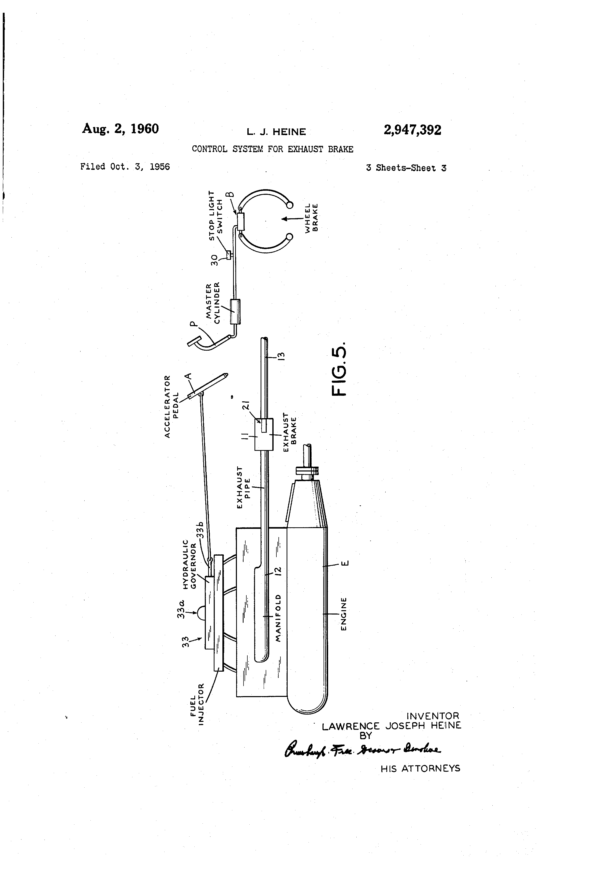 patent us2947392 - control system for exhaust brake