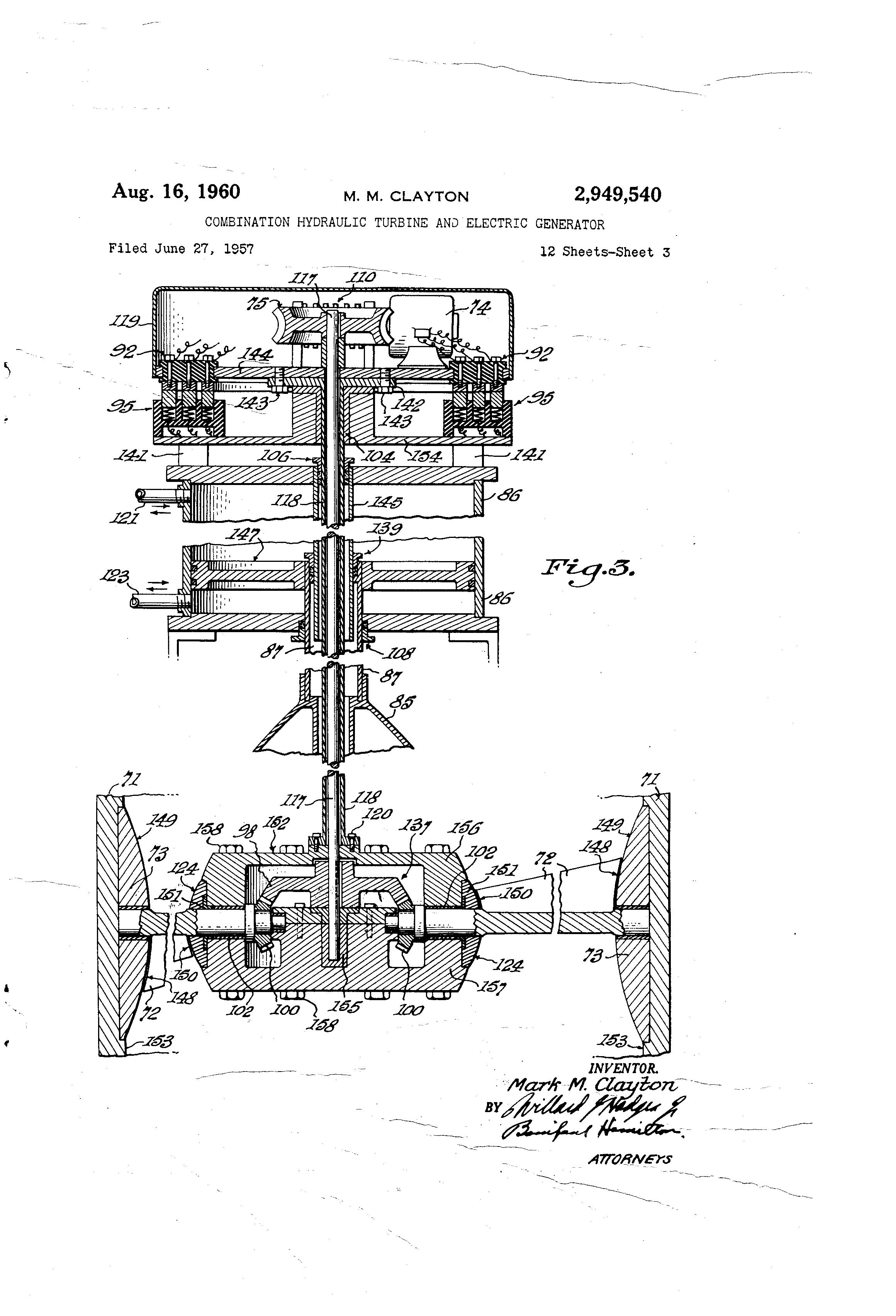 patent us2949540 - combination hydraulic turbine and electric generator