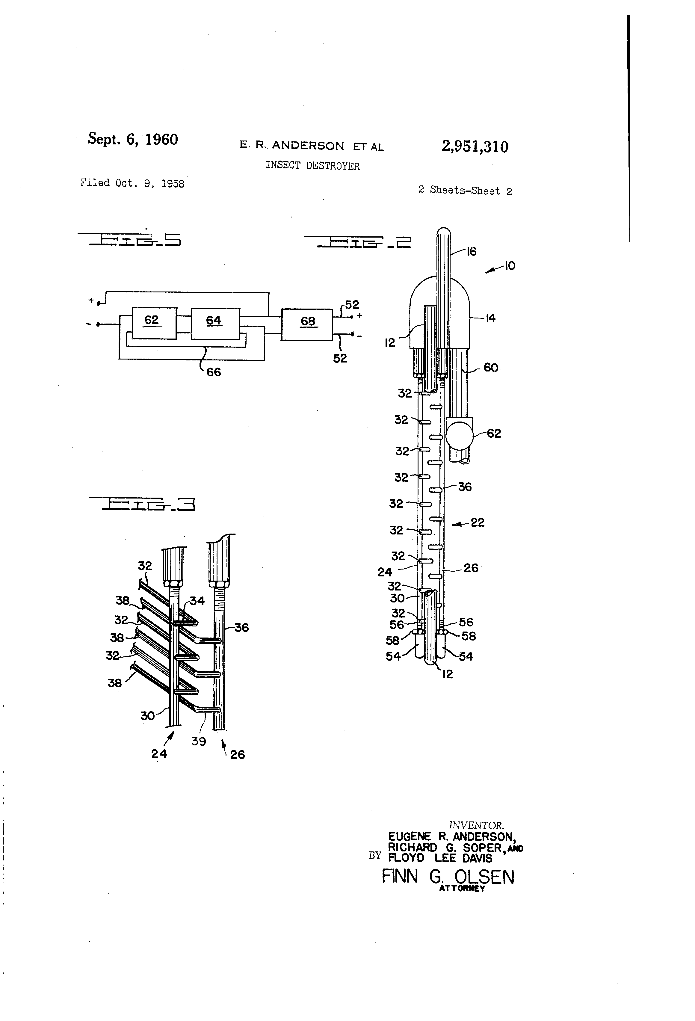 Patent Us2951310 Insect Destroyer Google Patents Bug Zapper Schematic Drawing