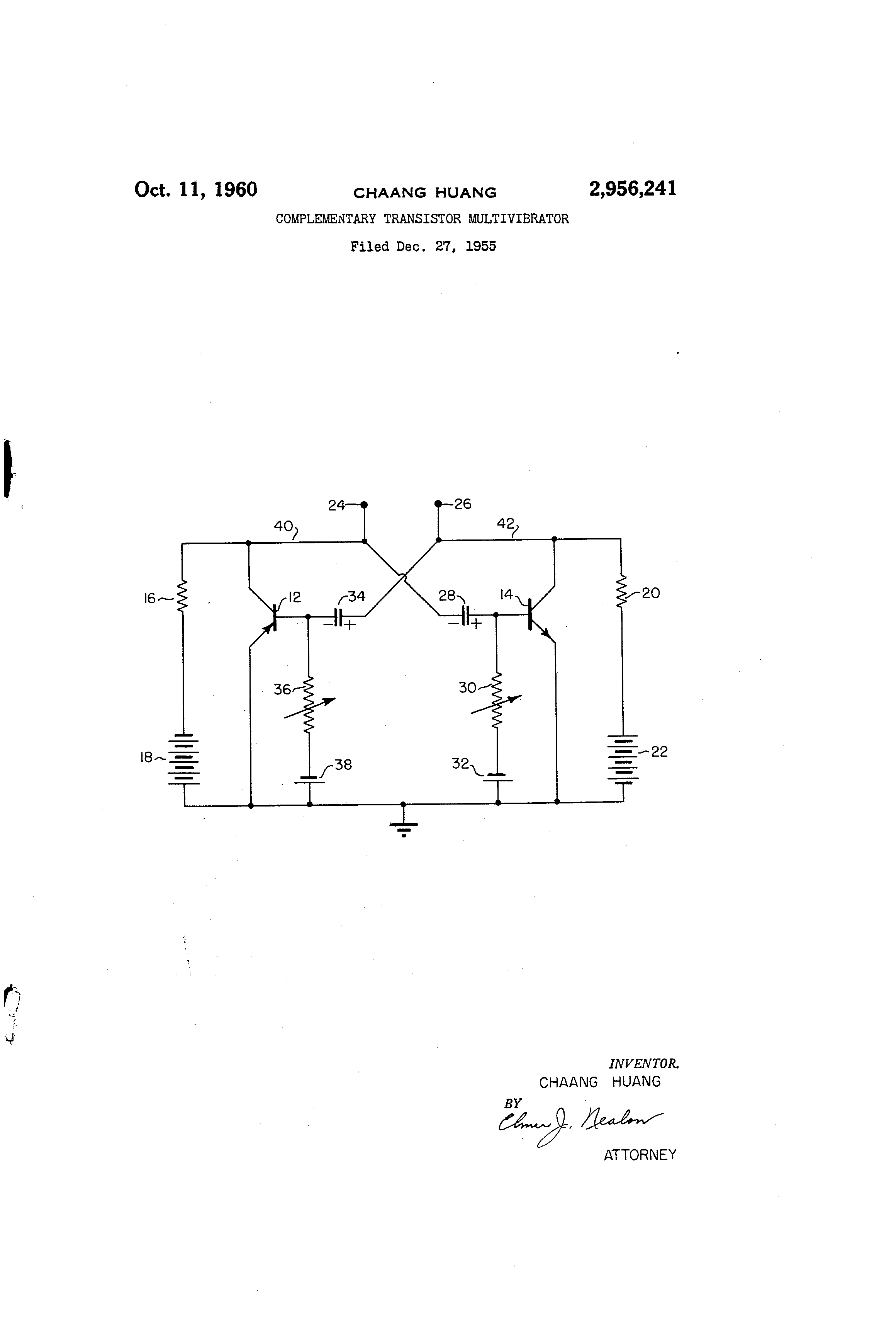 Patent Us2956241 Complementary Transistor Multivibrator Google Astable Using Transistors Transistorised Circuit Wave Us 2956241 A Abstract Available In Images1