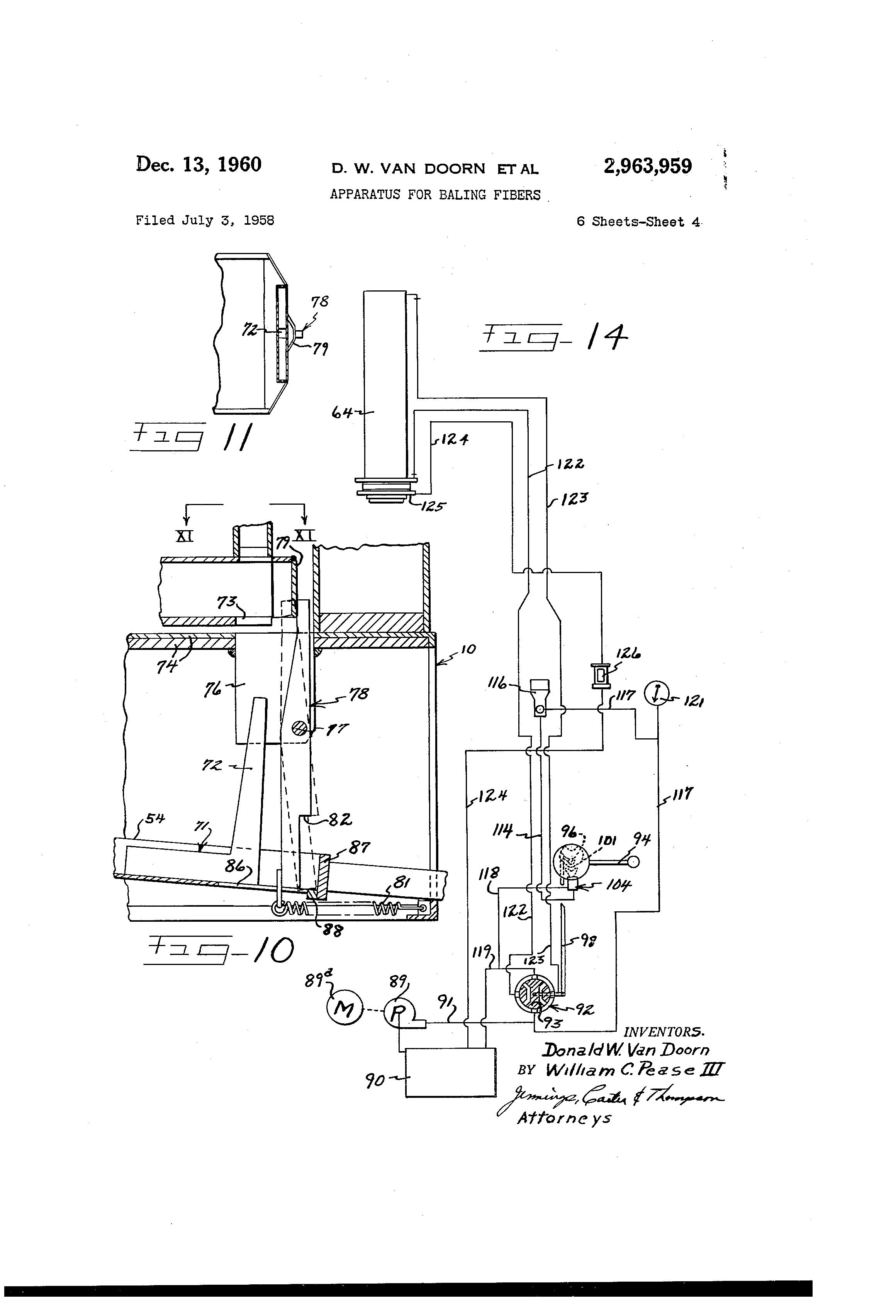 Patent Us2963959 Apparatus For Baling Fibers Google Patents Van Dorn Wiring Diagram Drawing