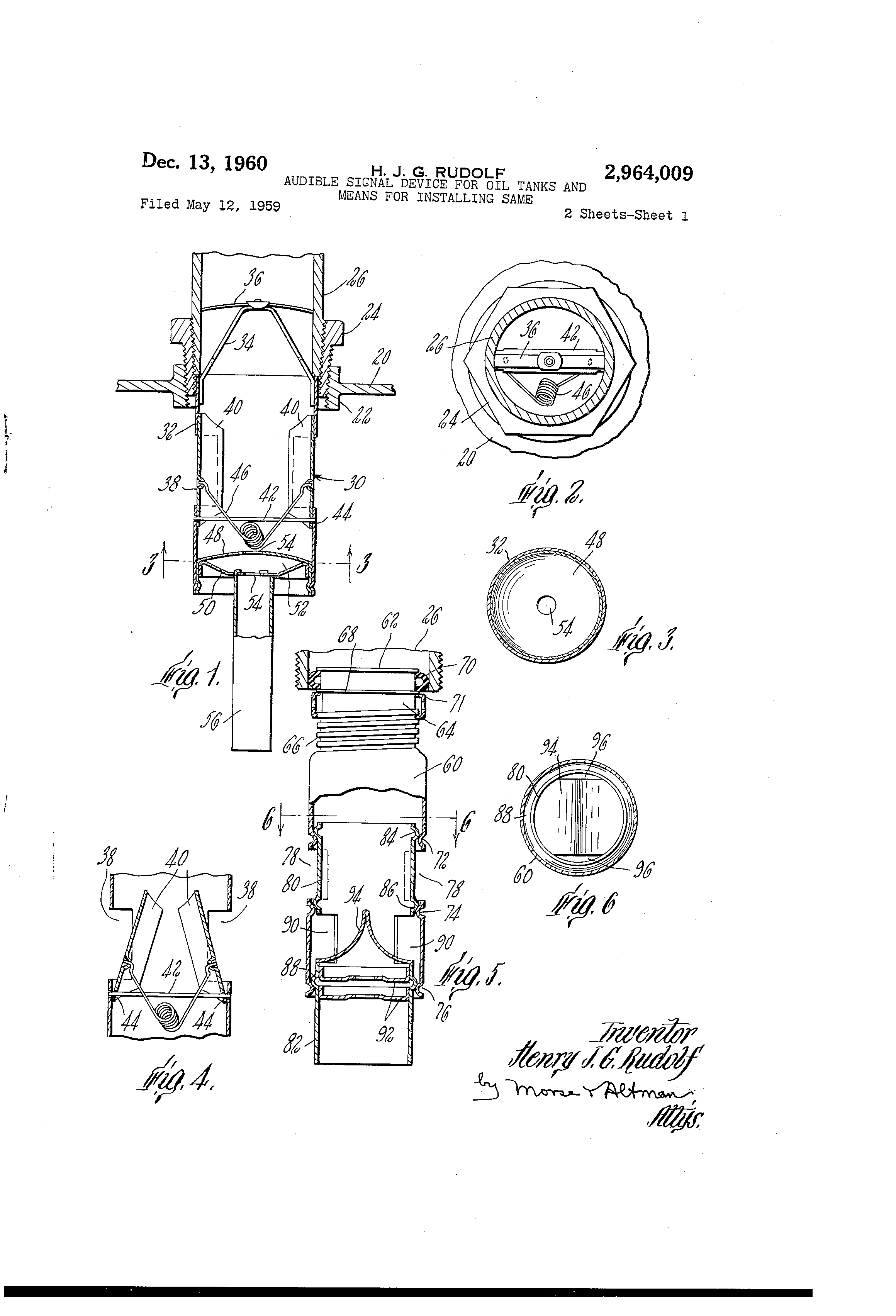 Patent Us2964009 Audible Signal Device For Oil Tanks And Means Wiring Meaning In Hindi Drawing