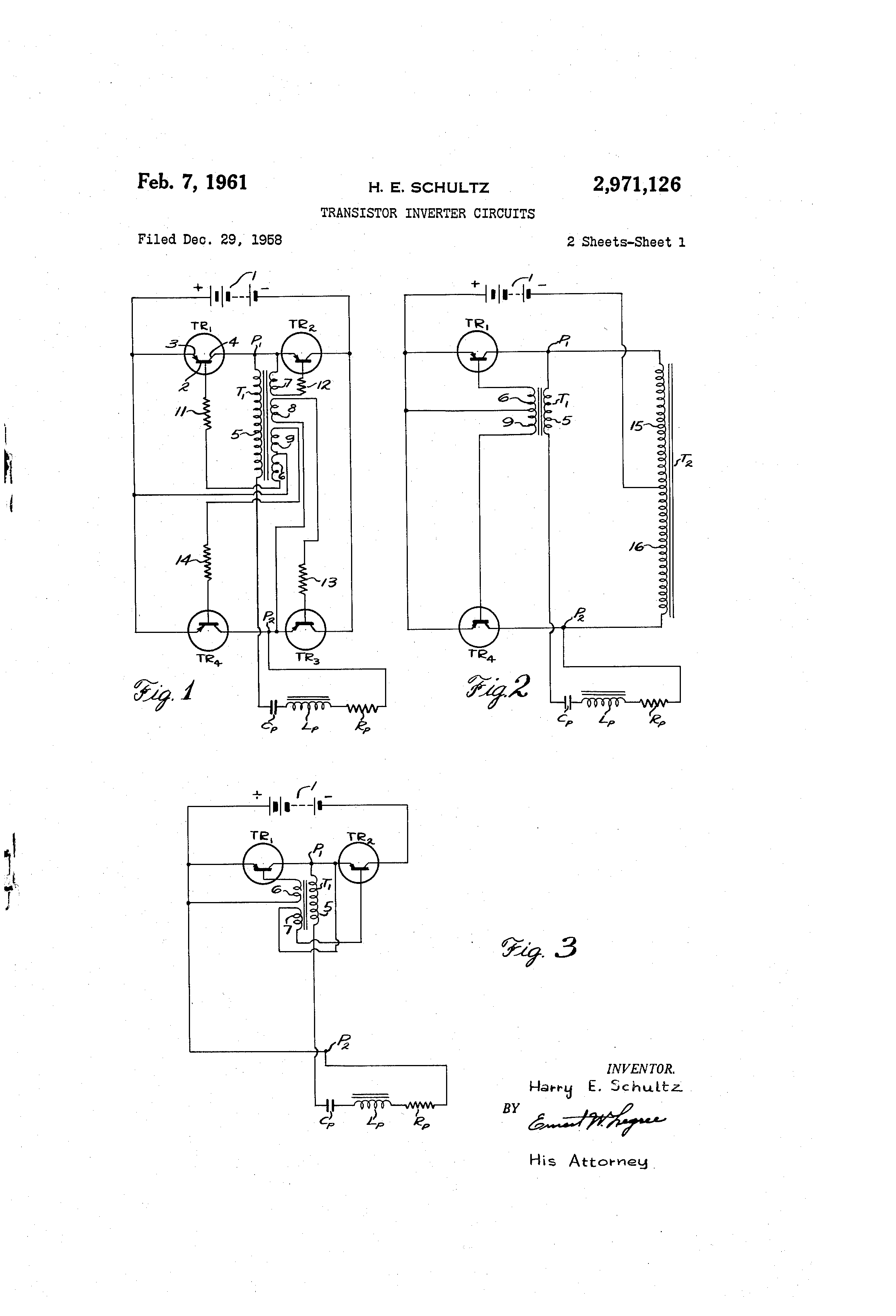 Patente Us2971126 Transistor Inverter Circuits Google Patentes Circuit Diagram 500 Watt Power