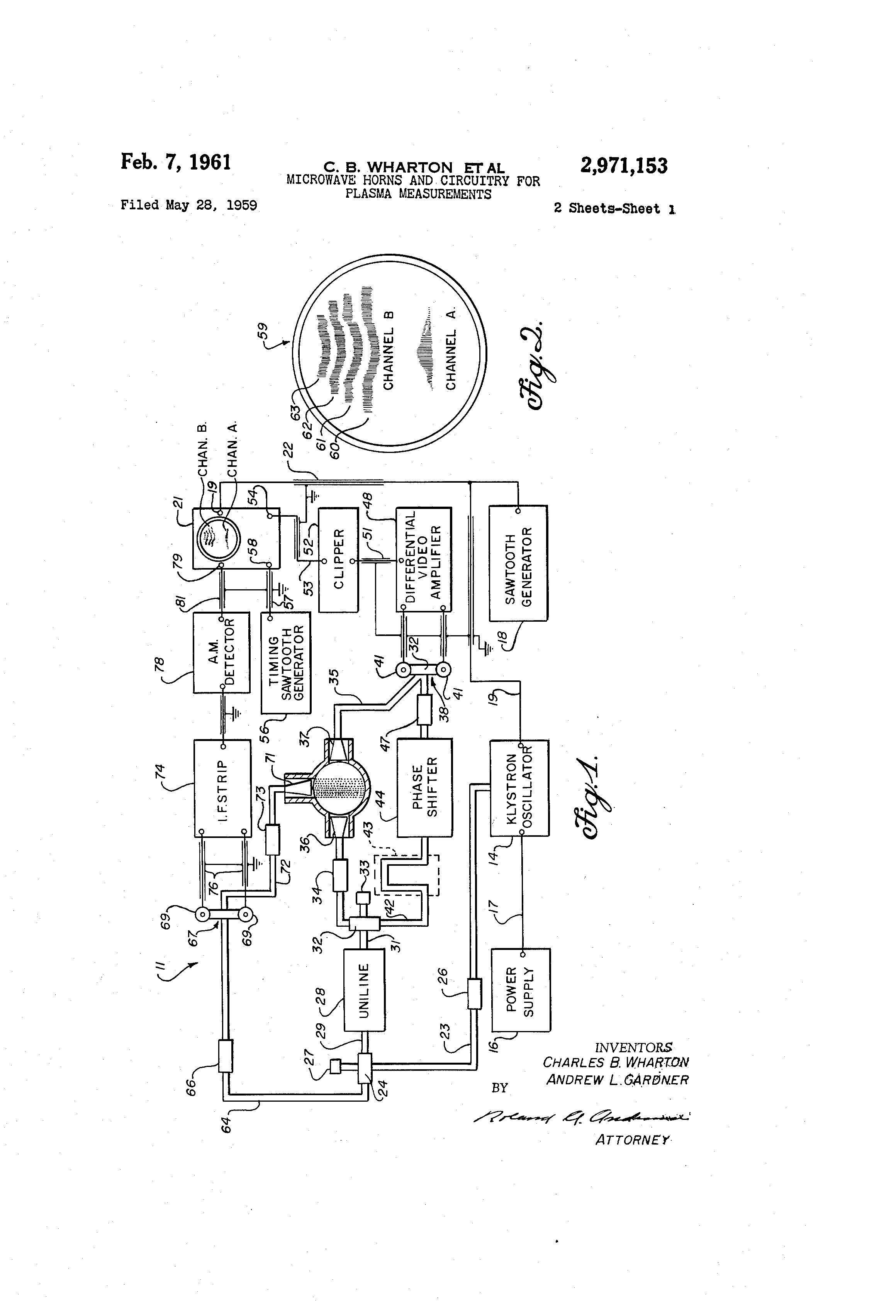Patent Us2971153 Microwave Horns And Circuitry For Plasma Circuit Diagram Of Uniline Ups Drawing