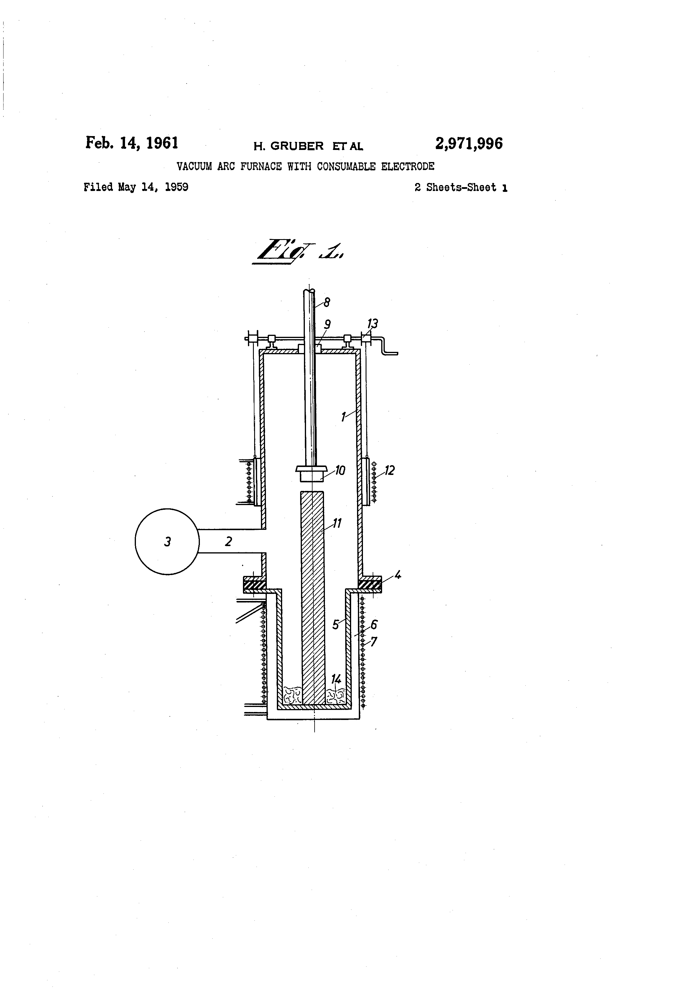 Patent Us2971996 Vacuum Arc Furnace With Consumable Electrode Schematic Drawing