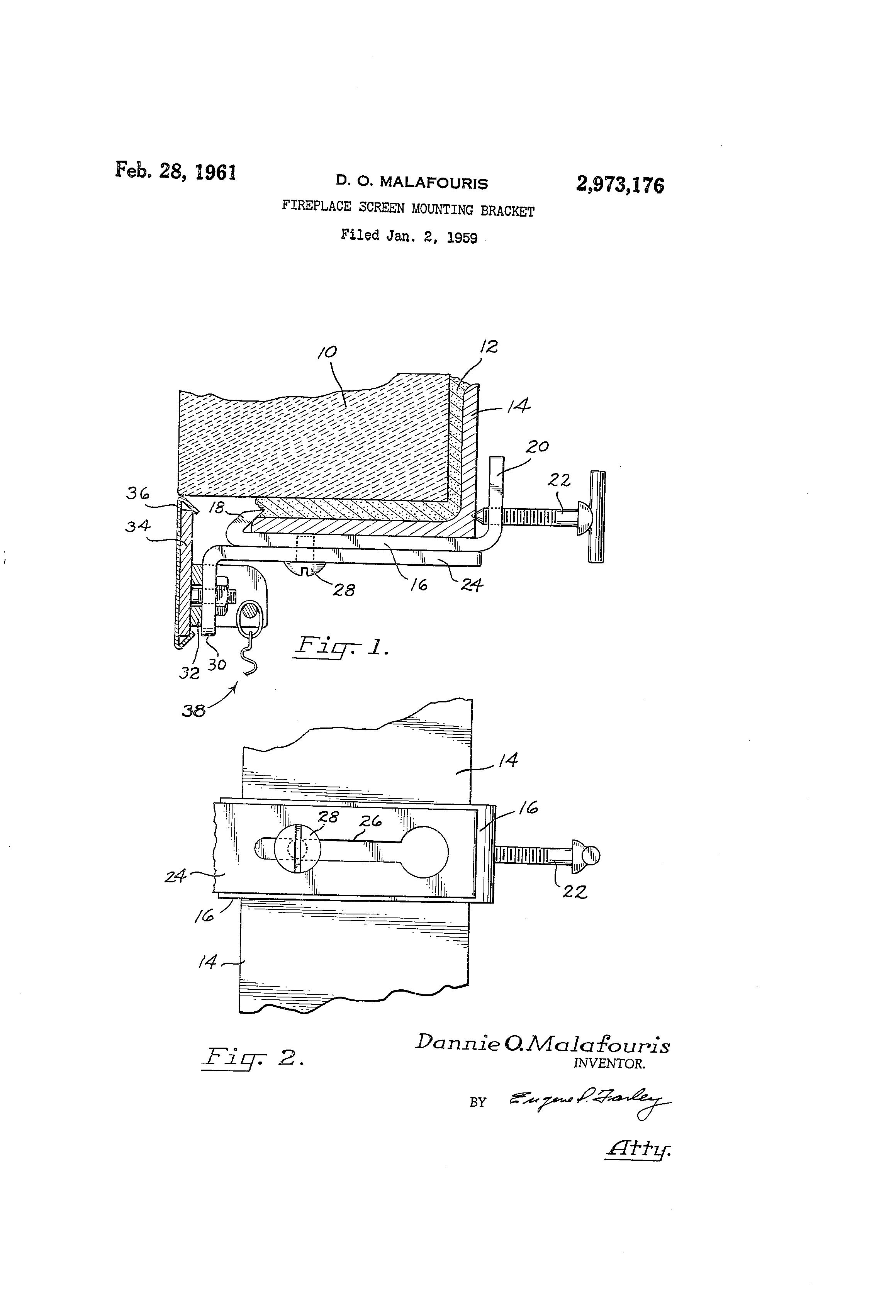 Patent US2973176 - Fireplace screen mounting bracket ...