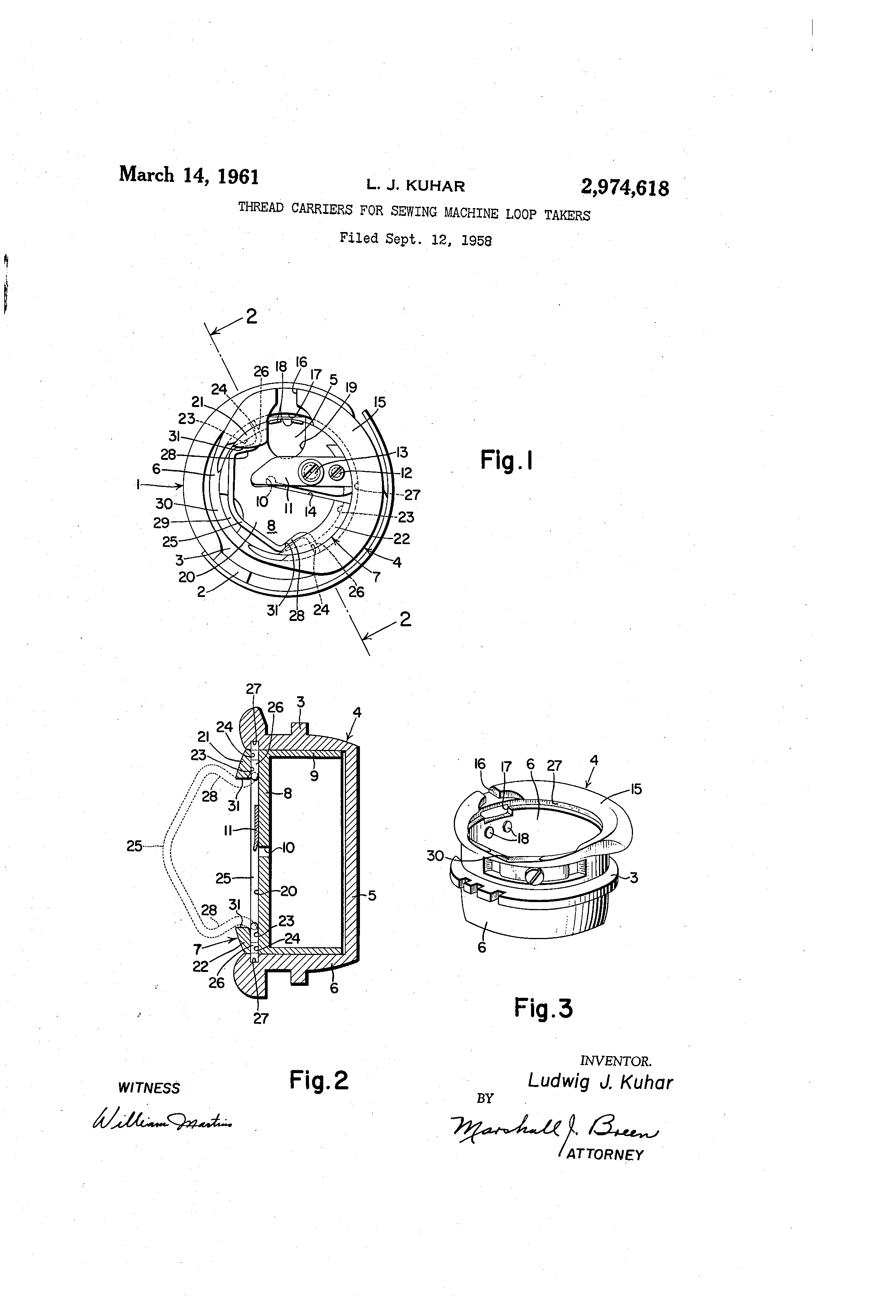 Patent Us2974618 Thread Carriers For Sewing Machine Loop Takers Diagram Of Drawing