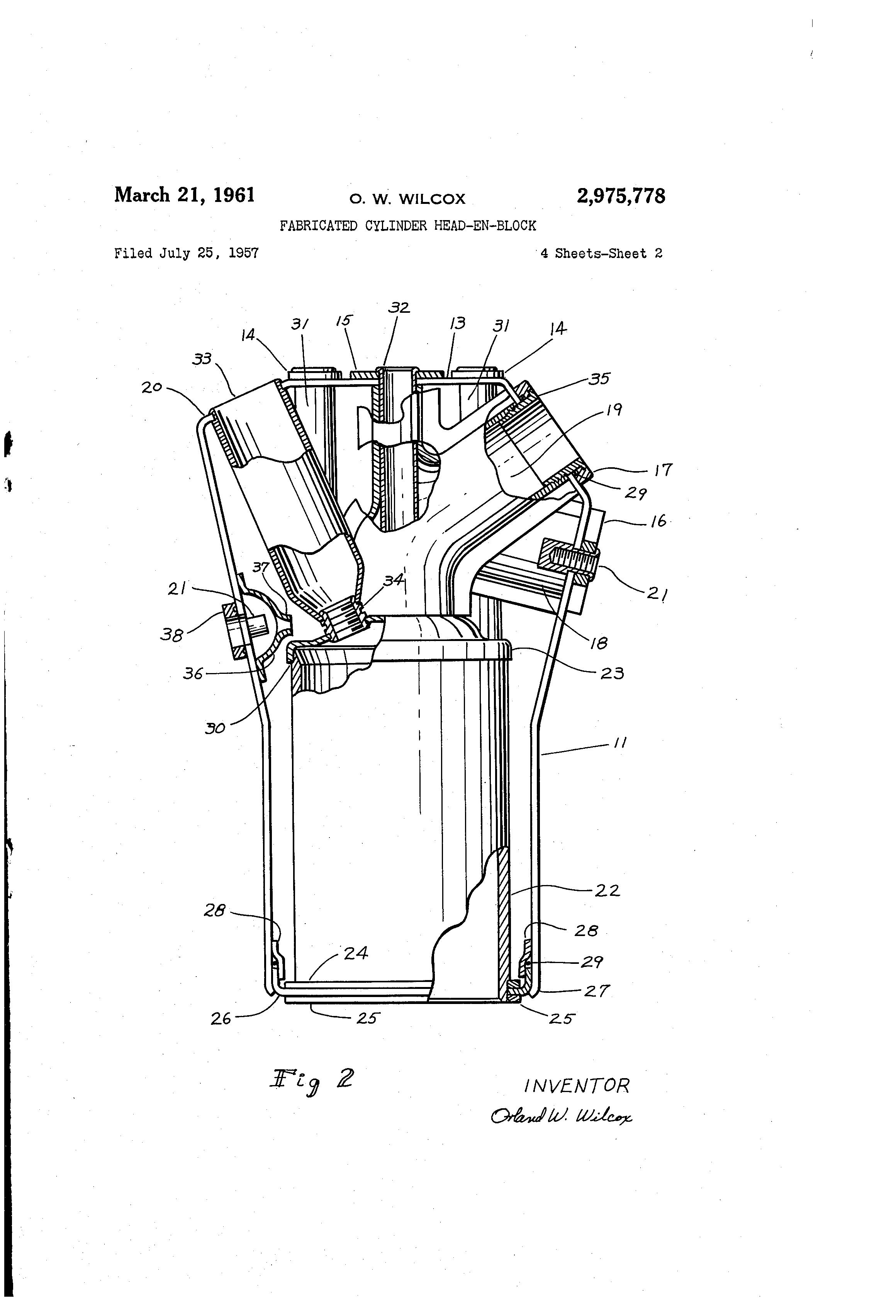 Brevet Us2975778 Fabricated Cylinder Head En Block Google Brevete Engine Water Jacket Diagram Patent Drawing