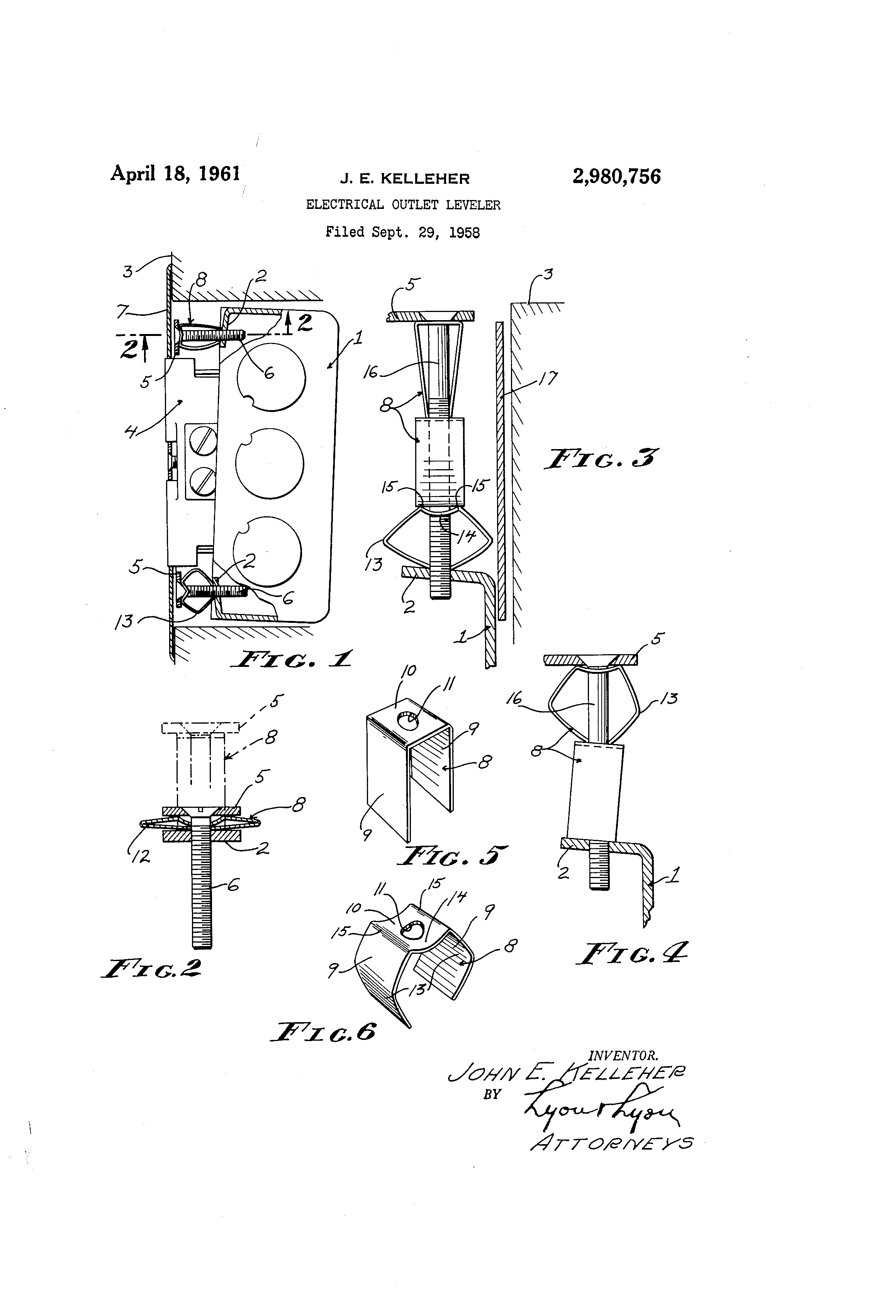 patent us2980756 - electrical outlet leveler