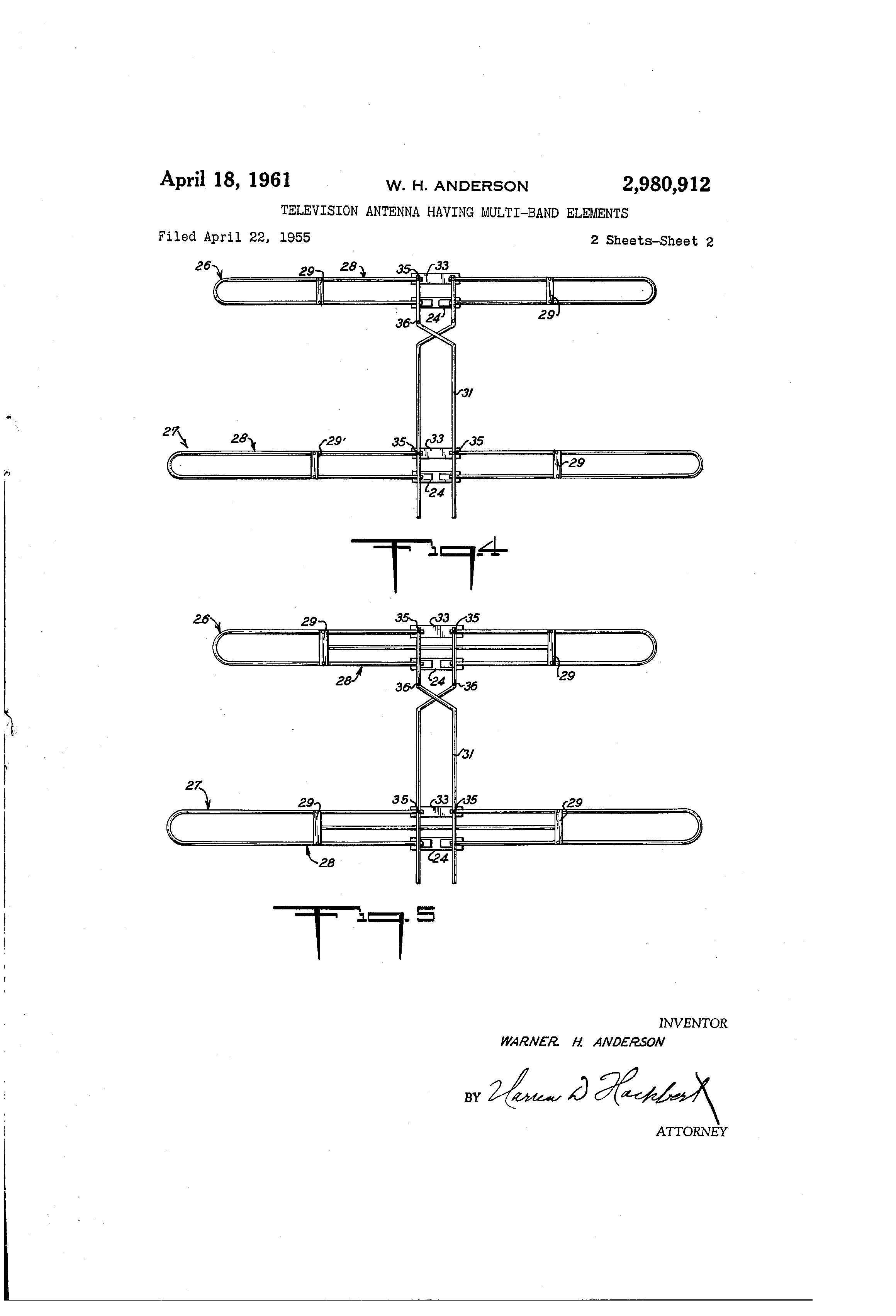 Patent Us2980912 Television Antenna Having Multi Band Elements Yagi Tv Wiring Diagram Drawing