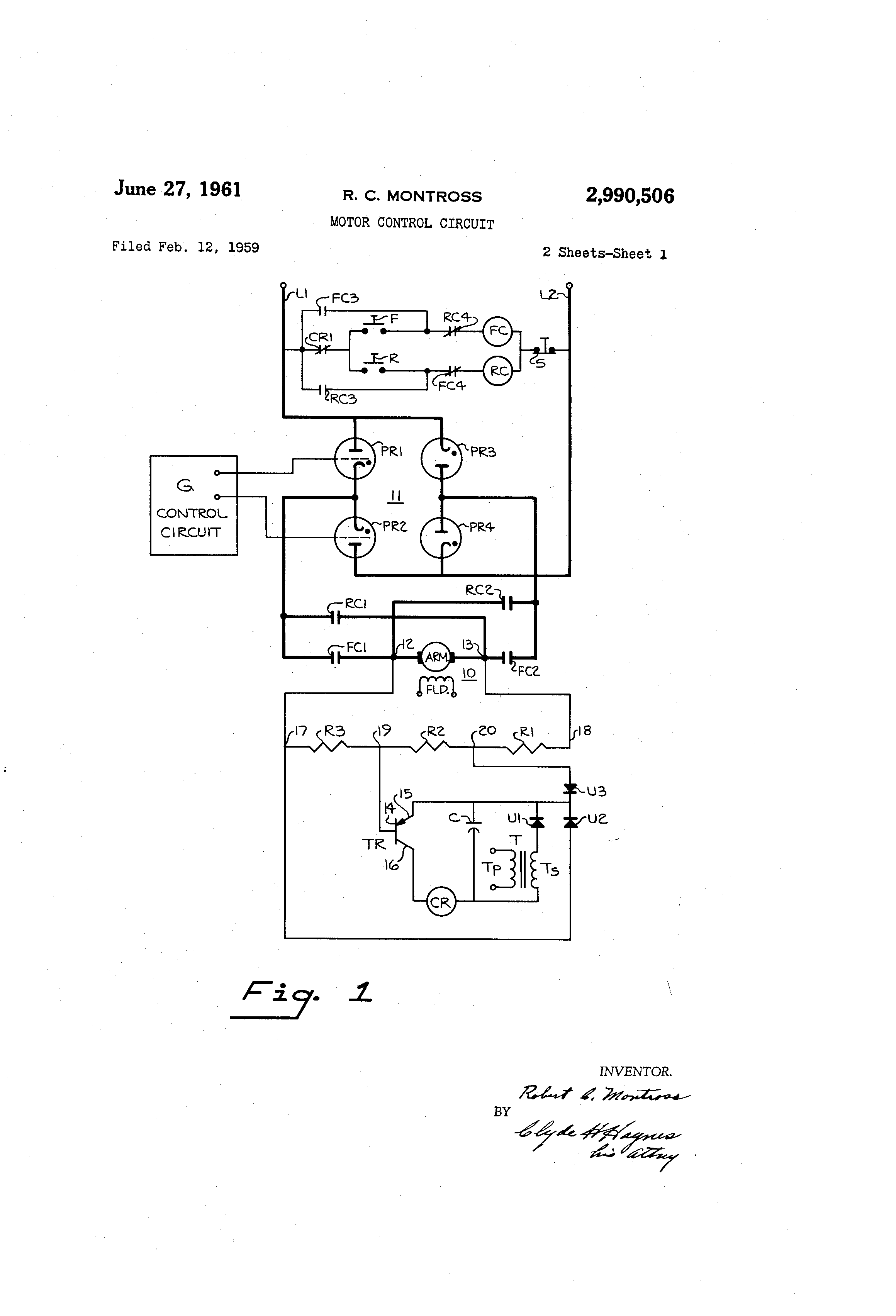 Patent Us2990506 Motor Control Circuit Google Patents Is The Bidirectional Dc Which Allows Forward And Reverse Drawing