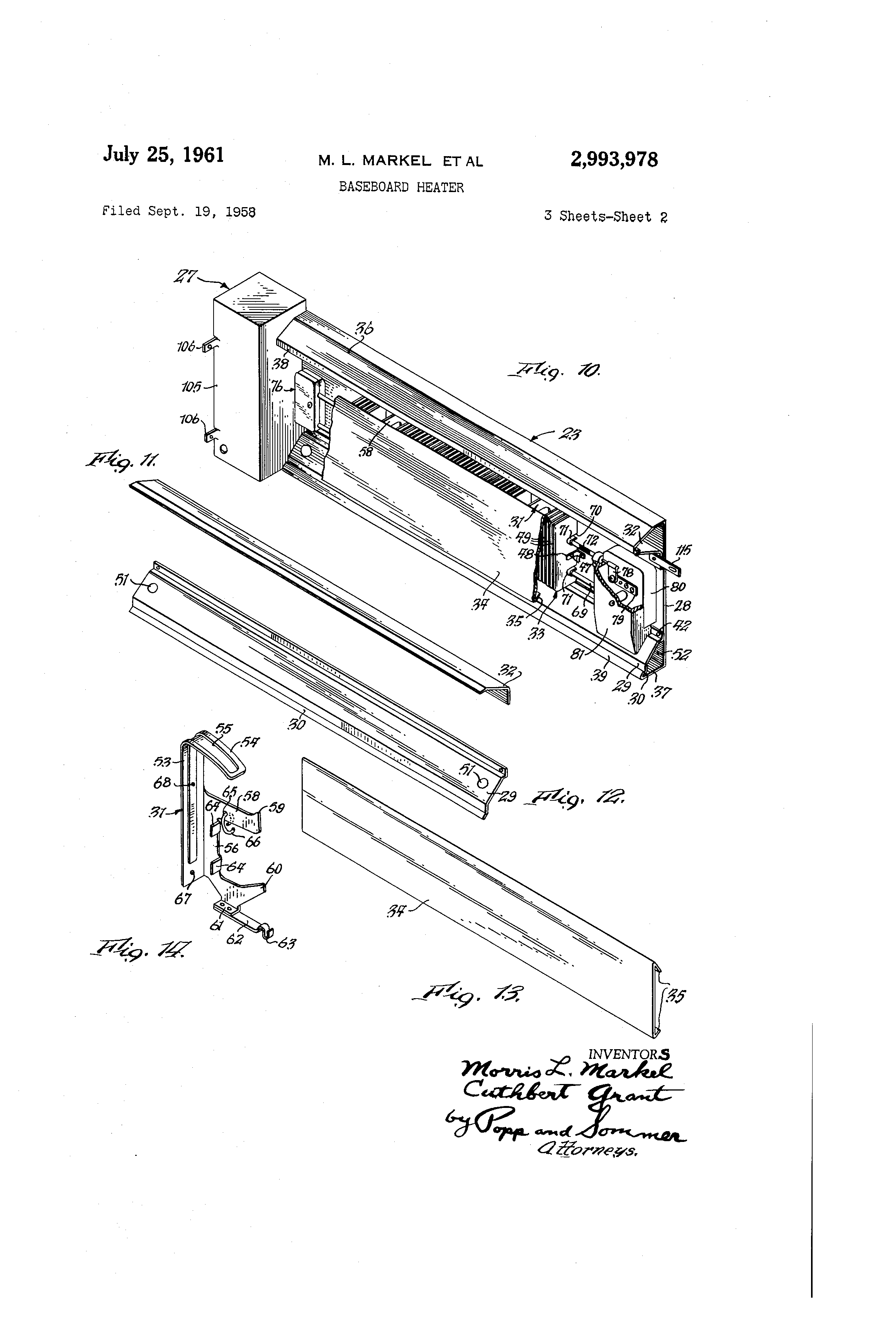 patent us2993978 - baseboard heater