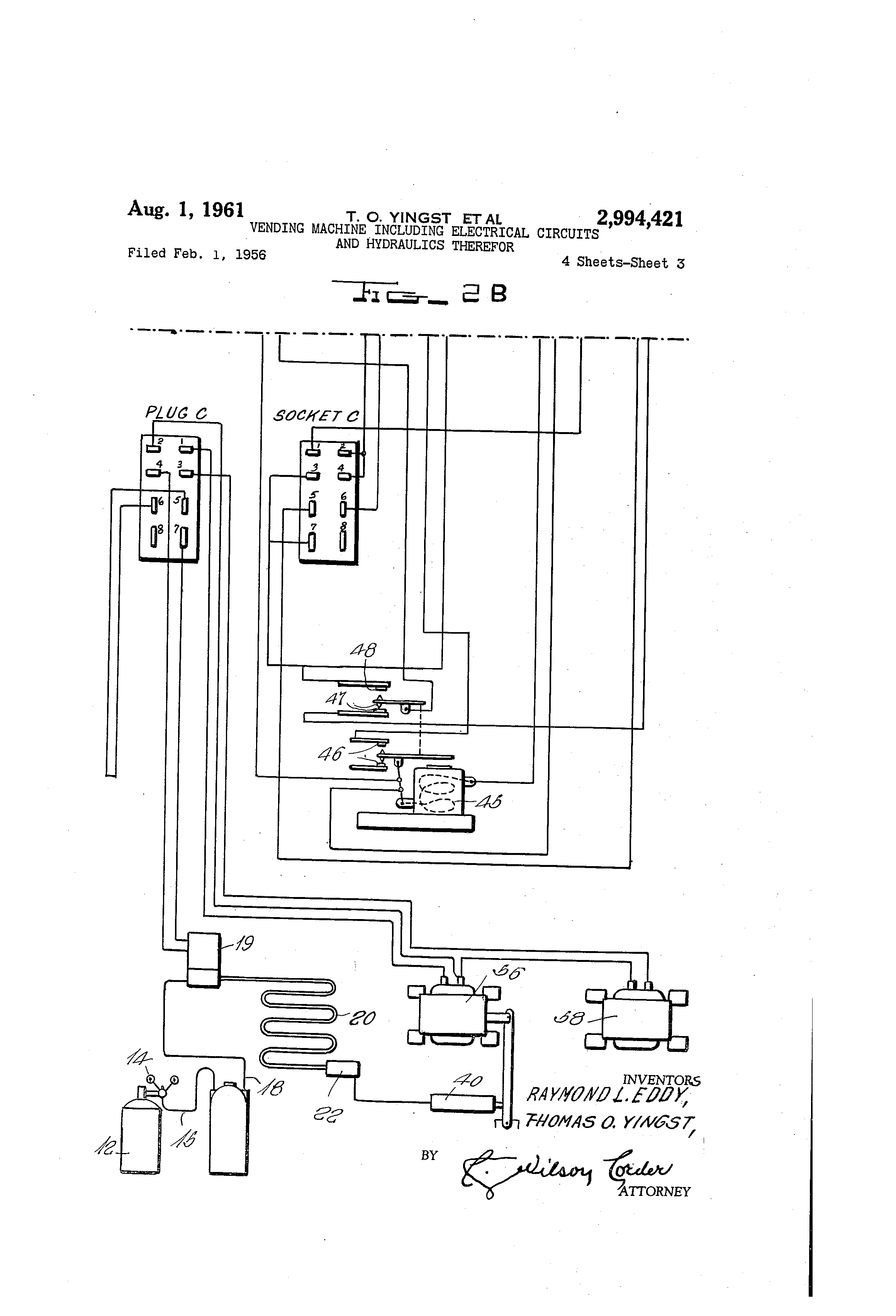 Patent US2994421 - Vending machine including electrical circuits ...
