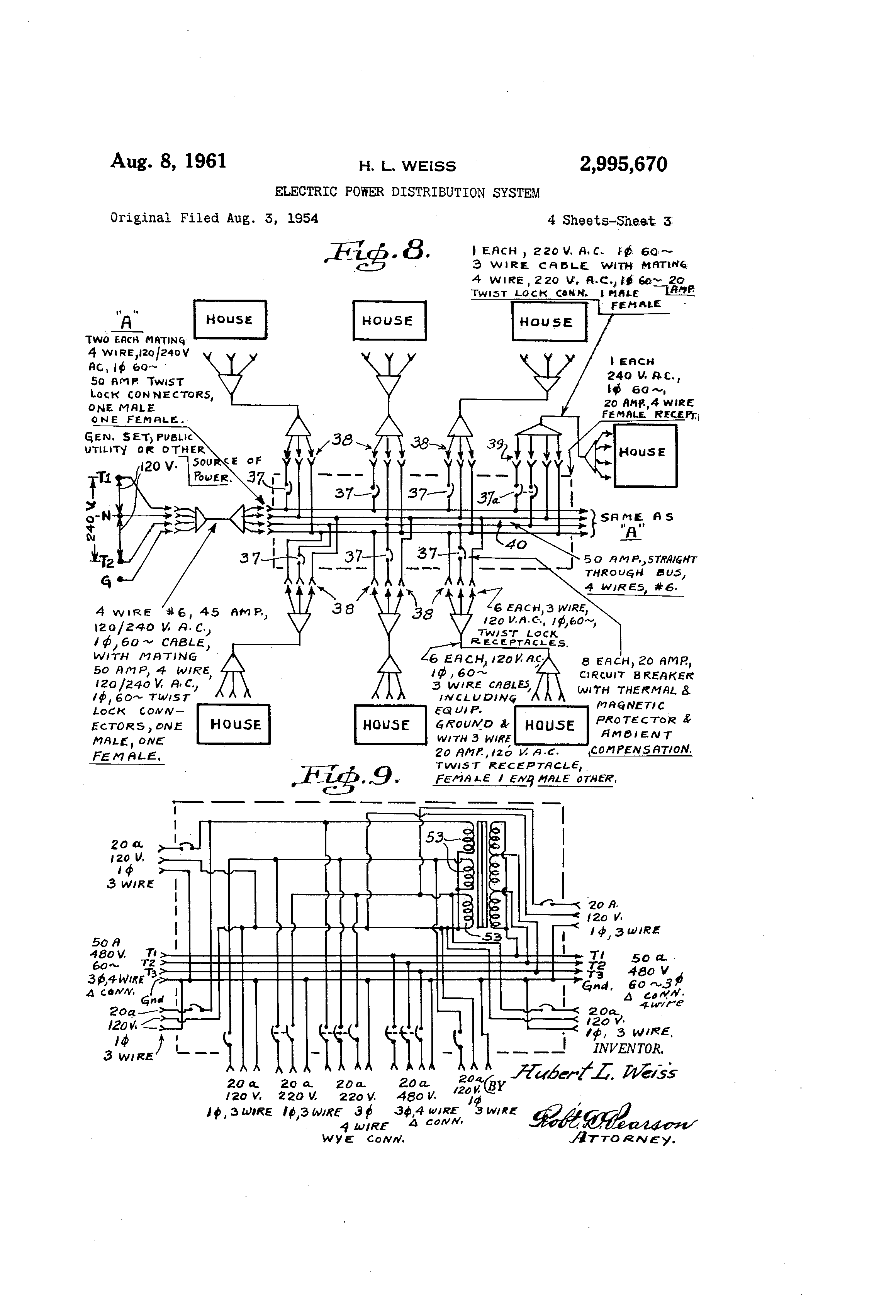 Patent US2995670 - Electric power distribution system - Google Patents