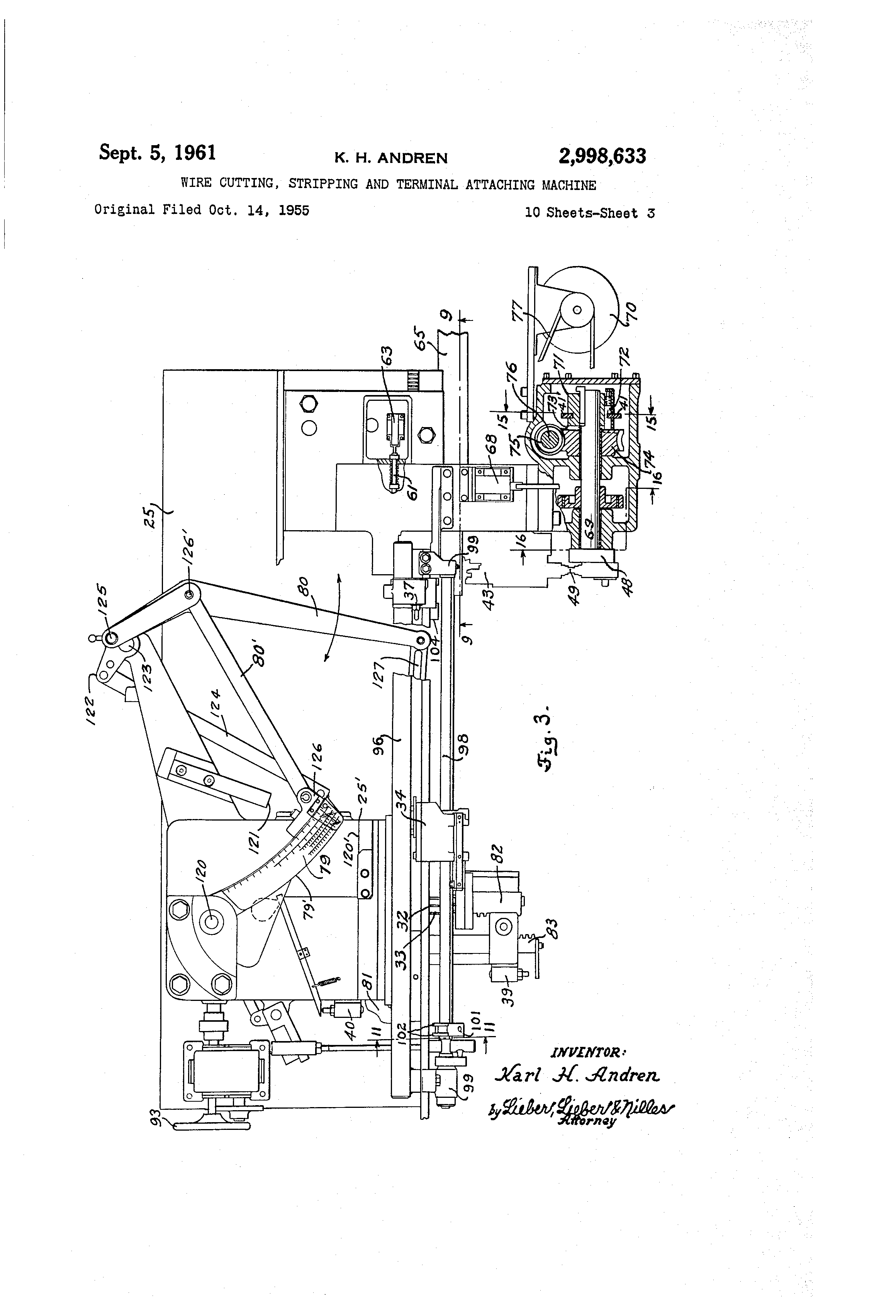 Patent US2998633 - Wire cutting, stripping and terminal attaching ...
