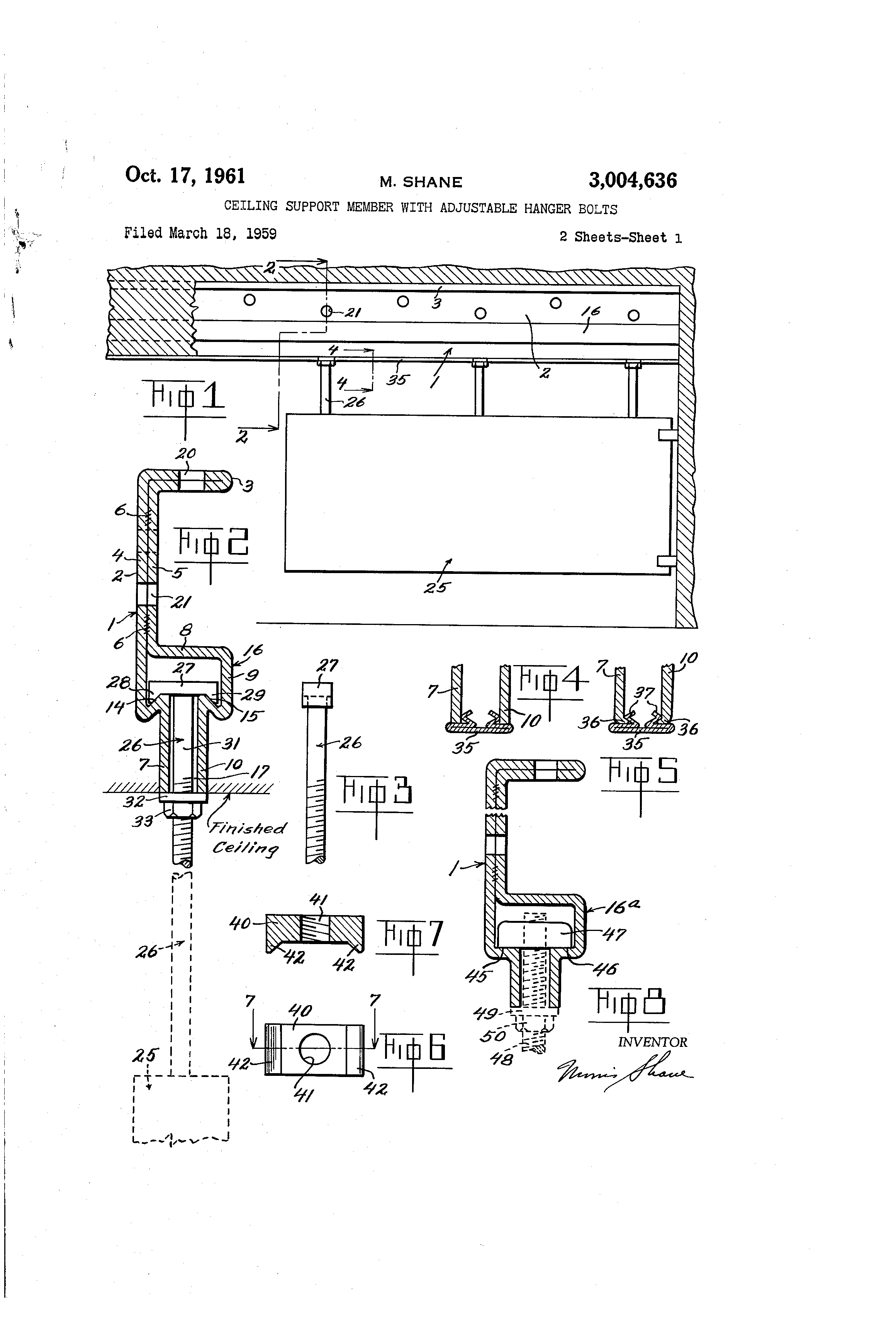 Patent Us3004636 Ceiling Support Member With Adjustable