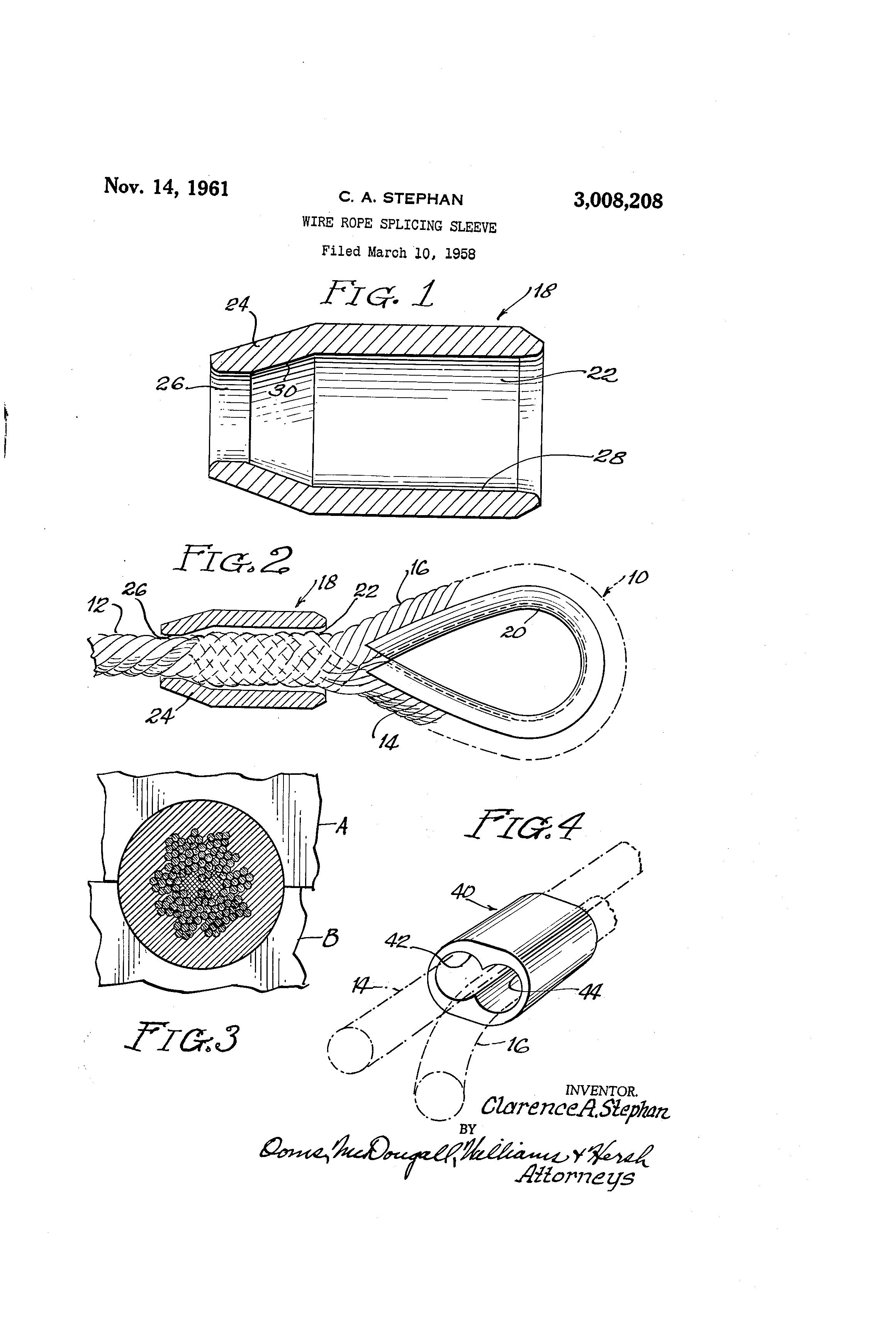 patent us3008208 - wire rope splicing sleeve
