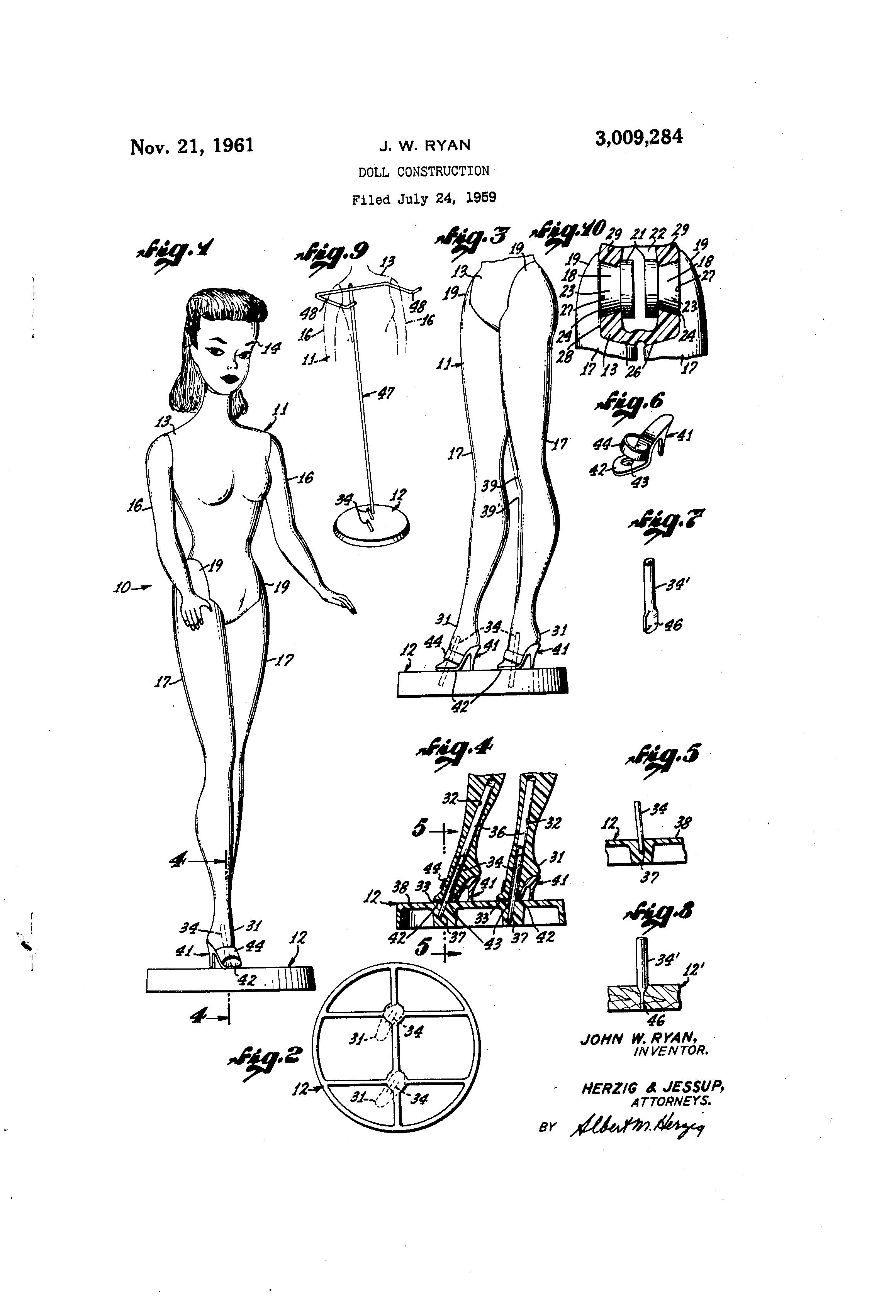 Patent Us3009284 Doll Construction Google Patents