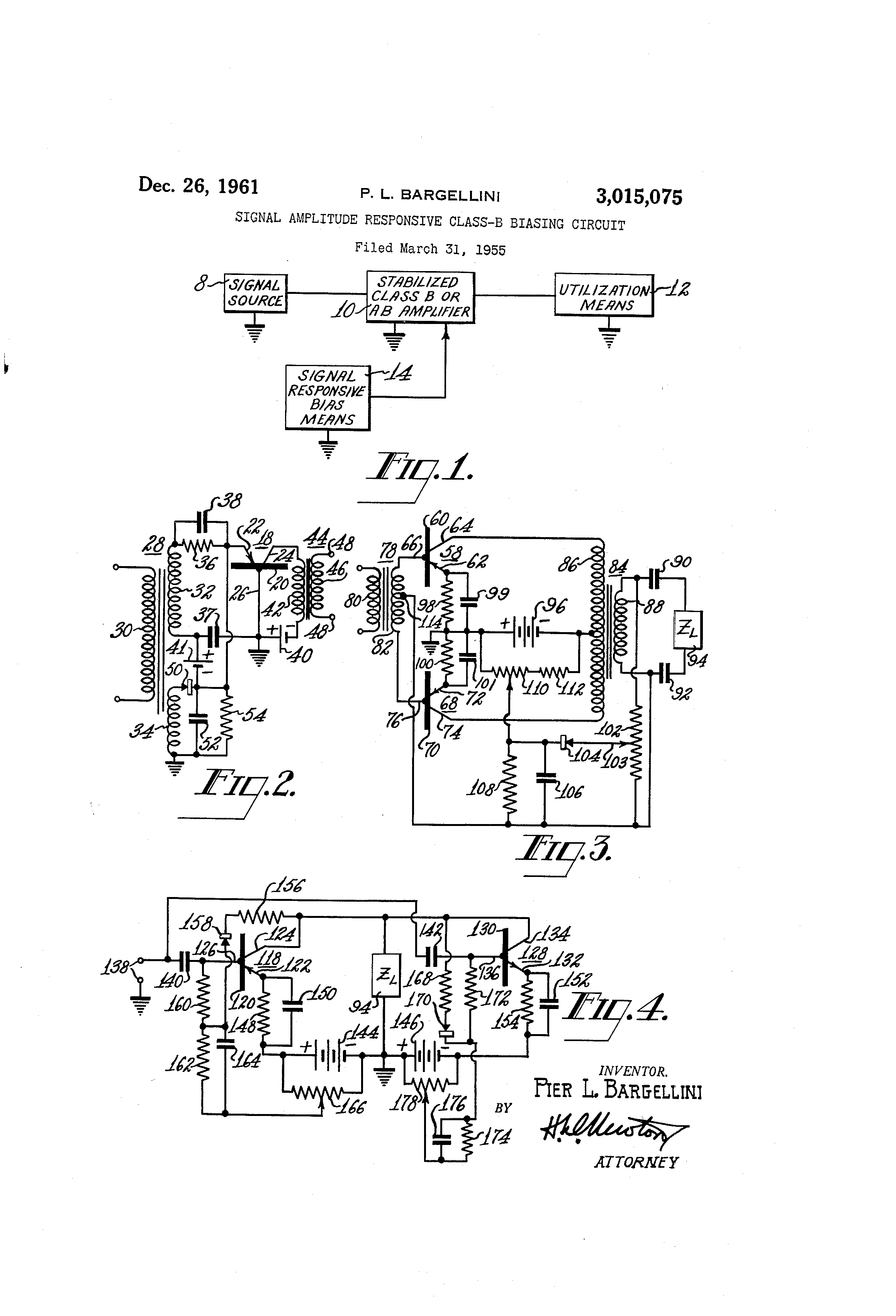 Patent Us3015075 Signal Amplitude Responsive Class B Biasing Bias Understand This Filter And Circuit Electrical Drawing
