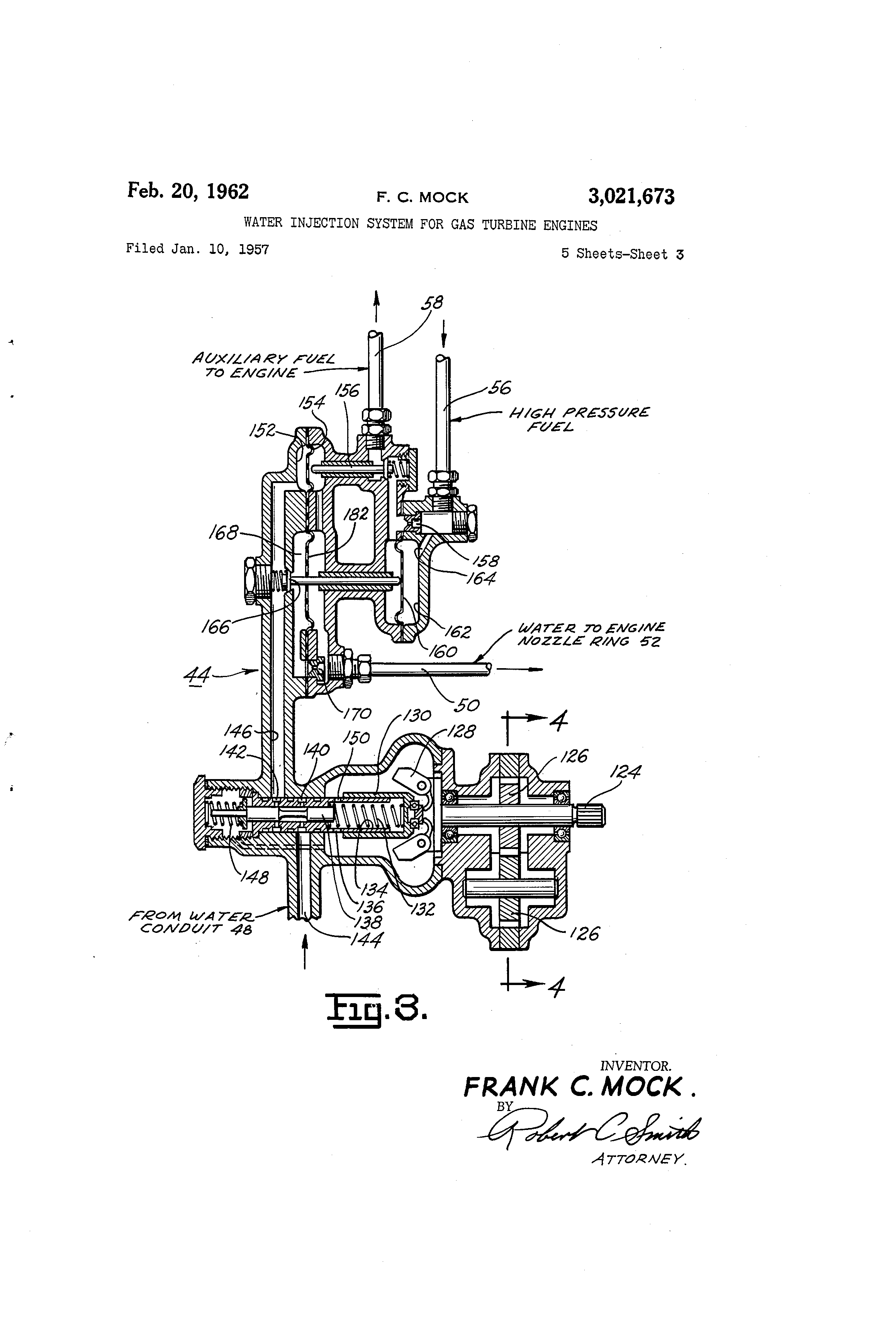 Patent Us3021673 Water Injection System For Gas Turbine Engines 302 Engine Diagram 20 Piston Drawing