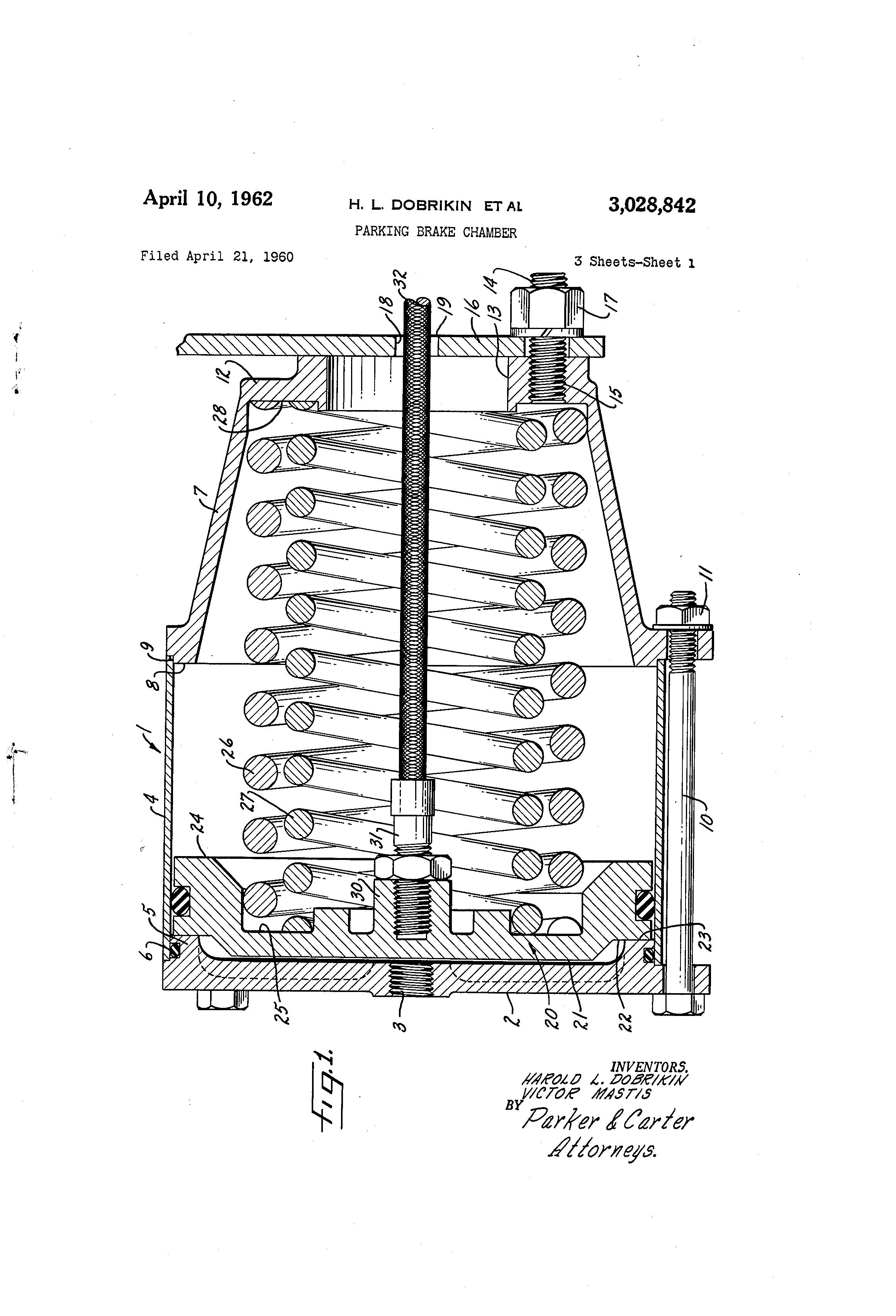 Patent Us3028842 Parking Brake Chamber Google Patents 302 Engine Diagram 20 Piston Drawing
