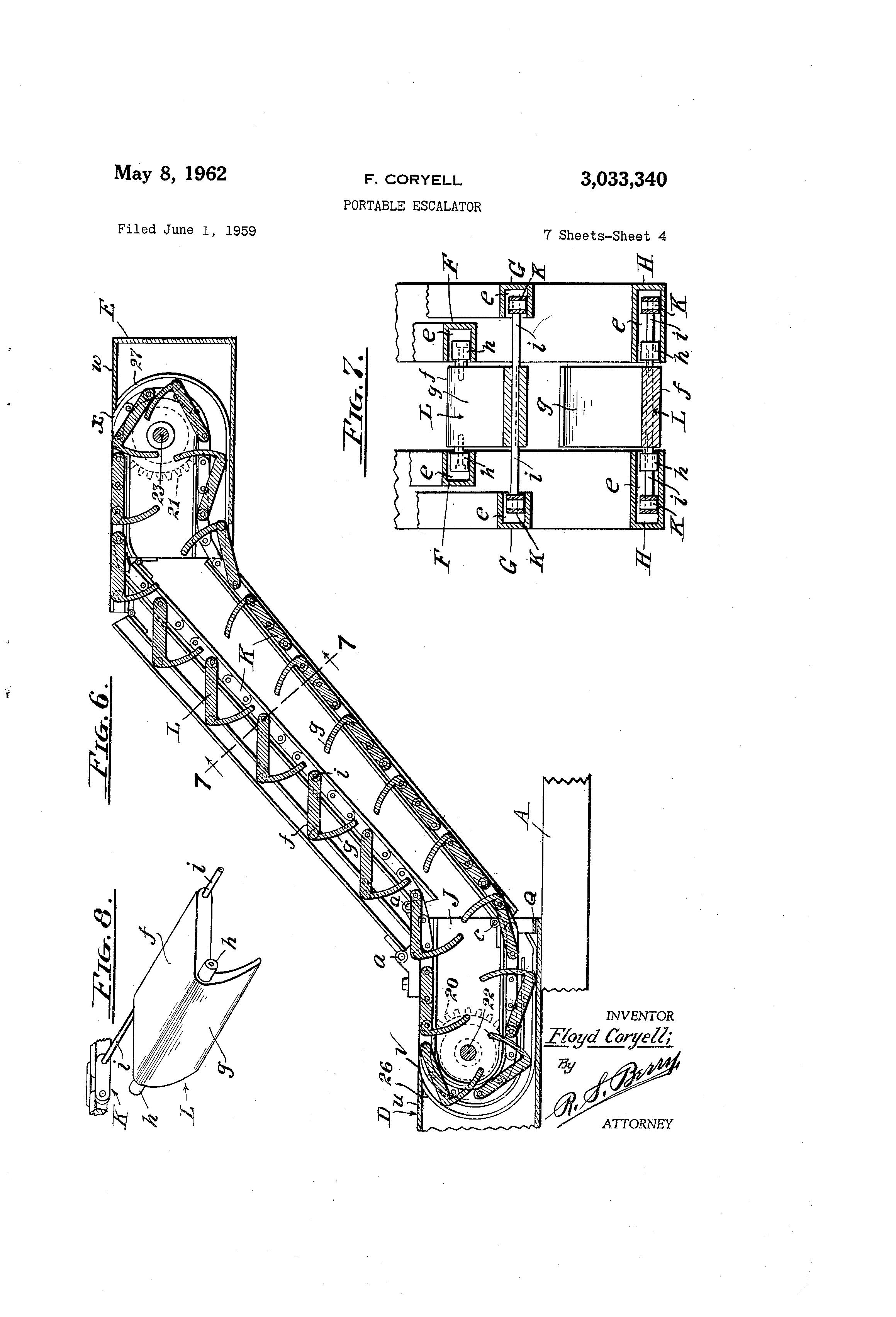 Patent Us3033340 Portable Escalator Google Patents Schematic Drawing