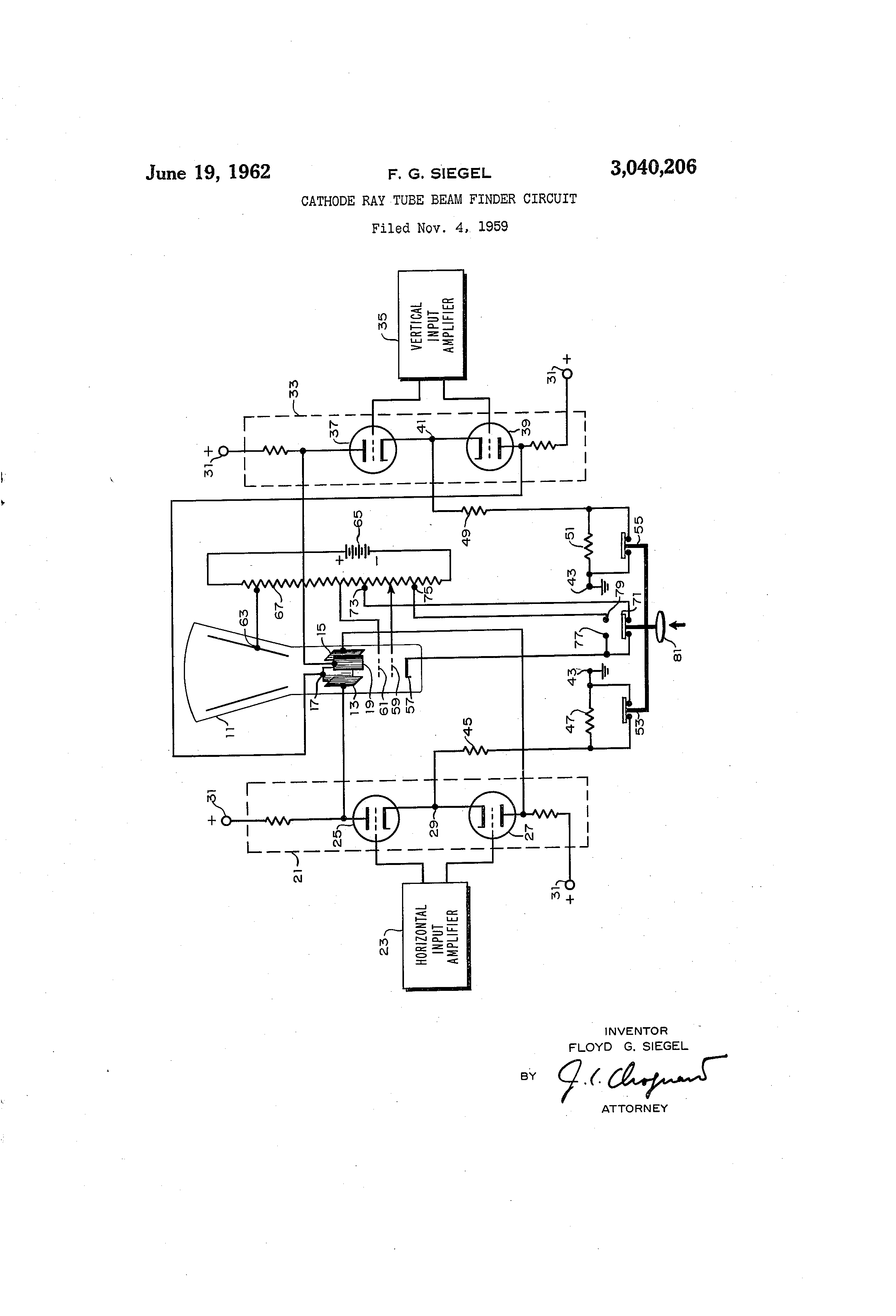 Patent Us3040206 Cathode Ray Tube Beam Finder Circuit Google Patents Diagram Drawing