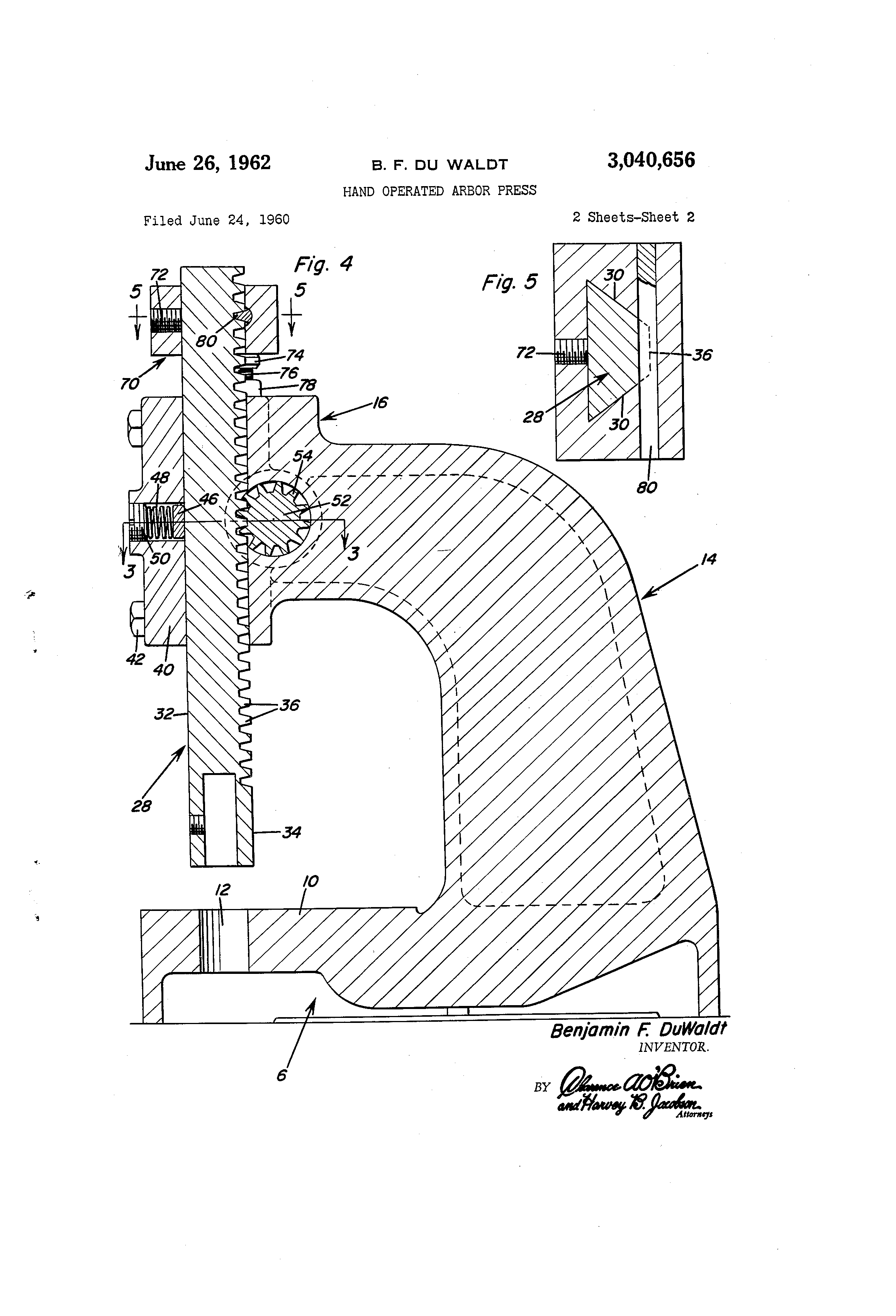 patent us3040656 - hand operated arbor press