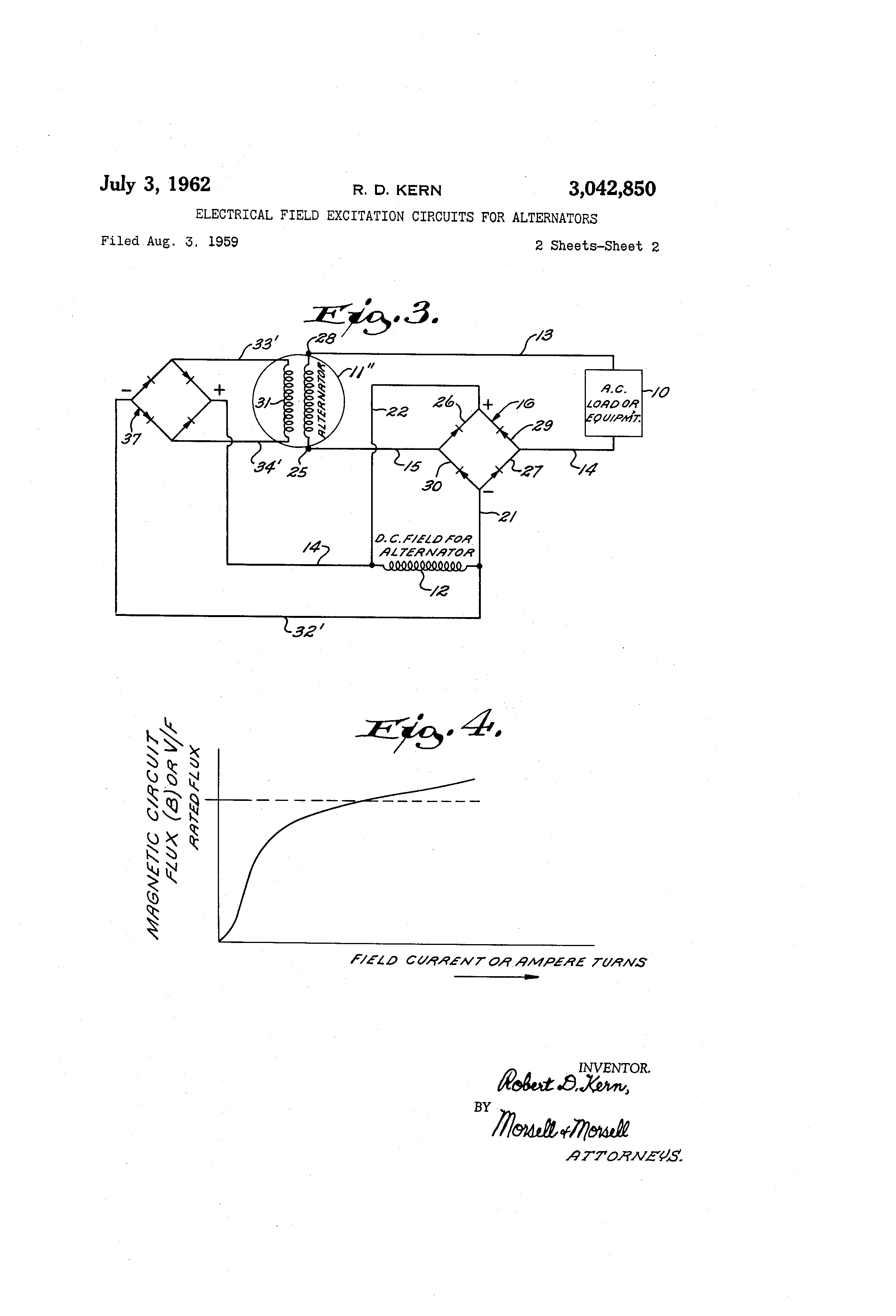 Patent Us3042850 Electrical Field Excitation Circuits For Fig Back Of Typical Alternator Illustrating Wiring Drawing