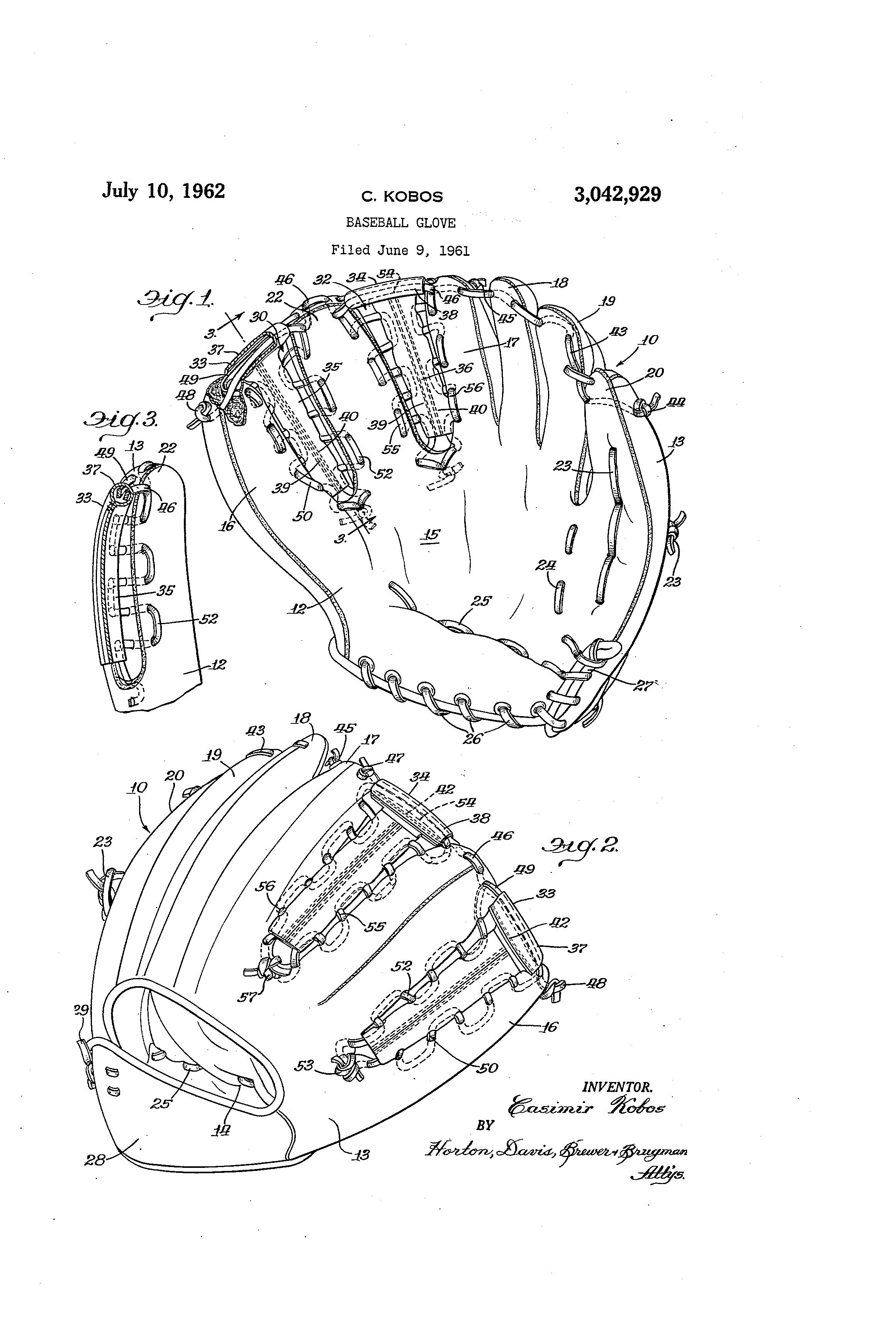 patent us3042929 - baseball glove
