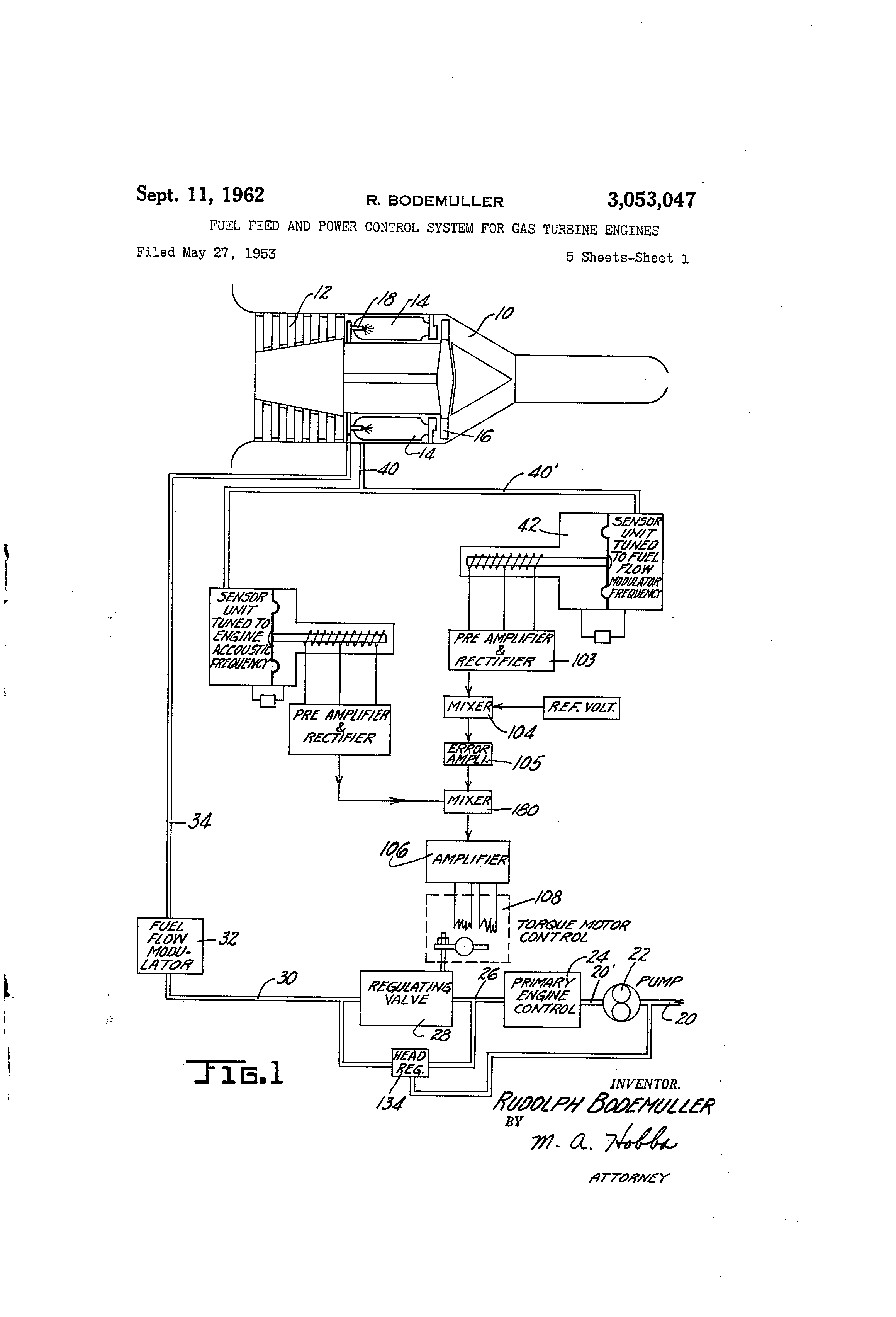 Brevet Us3053047 Fuel Feed And Power Control System For Gas Injected 305 Engine Diagram Patent Drawing