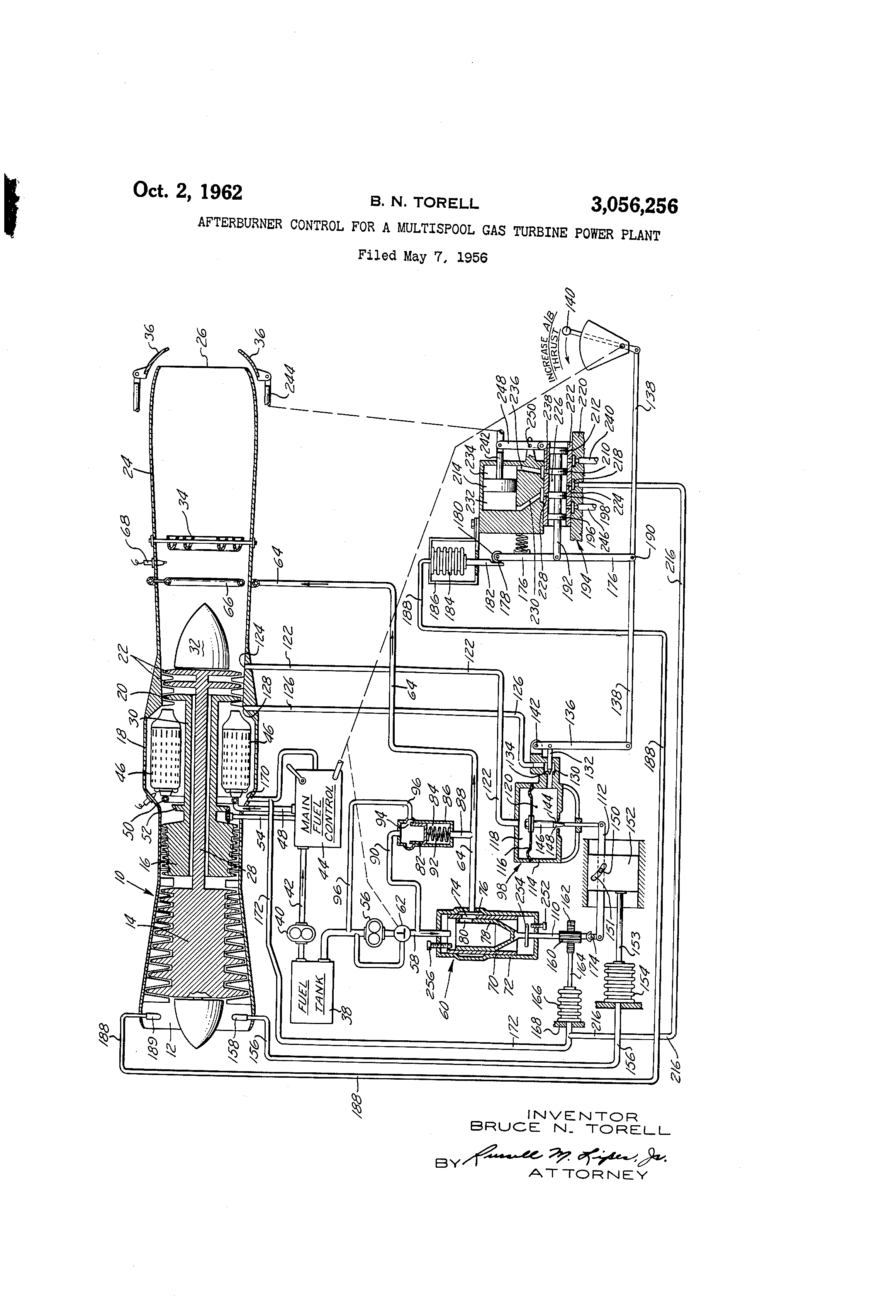 Patent Us3056256 Afterburner Control For A Multispool Gas Turbine Power Plant Diagram Drawing