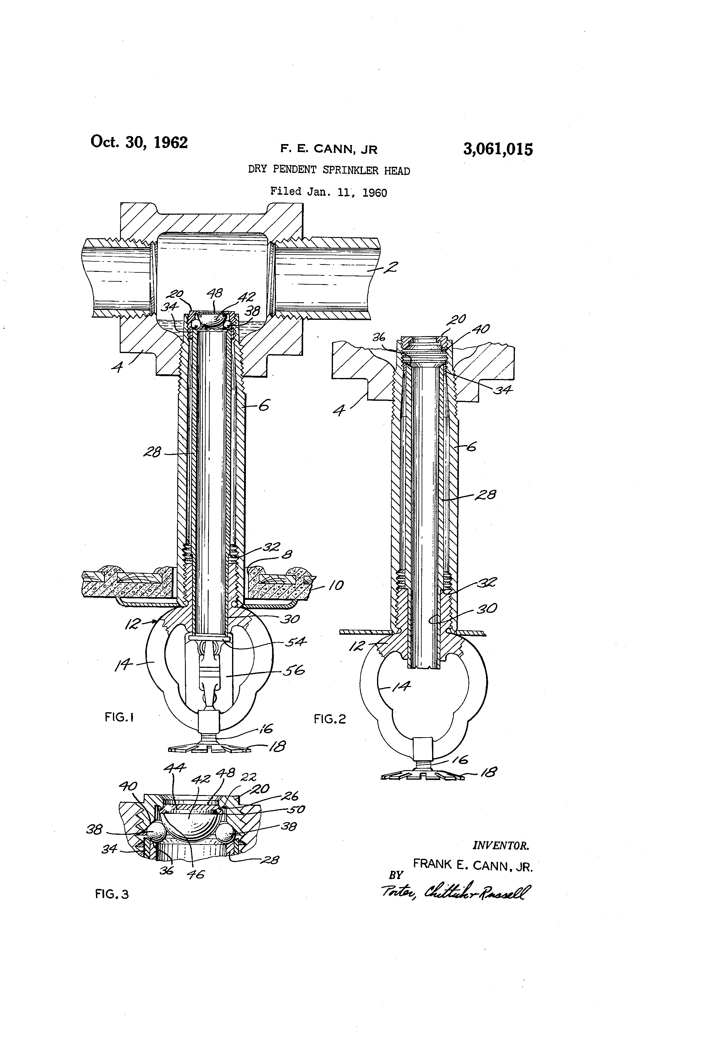 Patent Us3061015 Dry Pendent Sprinkler Head Google Patents