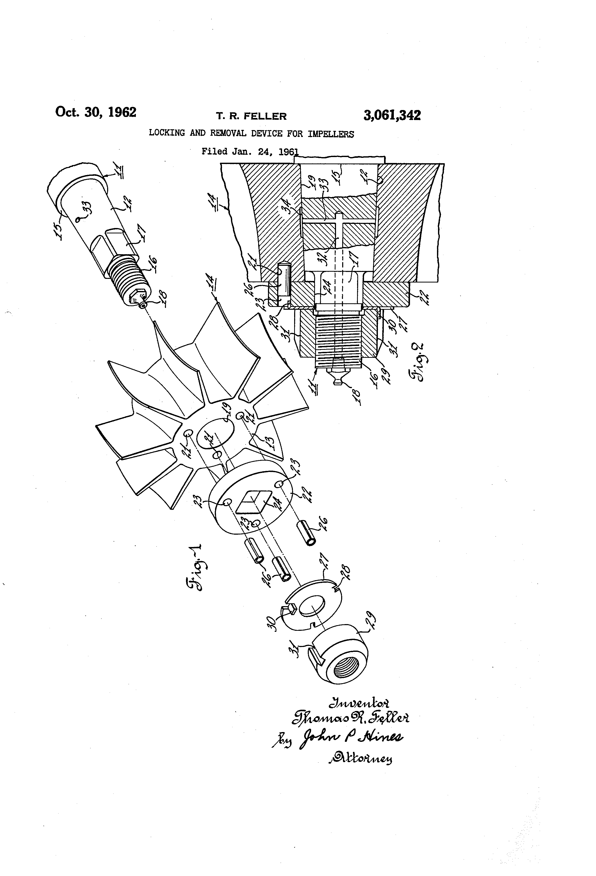Brevet Us3061342 Locking And Removal Device For Impellers Google